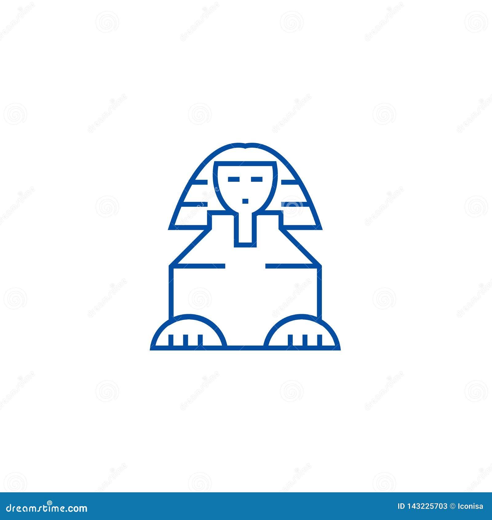 Linea concetto della Sfinge dell icona Simbolo piano di vettore della Sfinge, segno, illustrazione del profilo