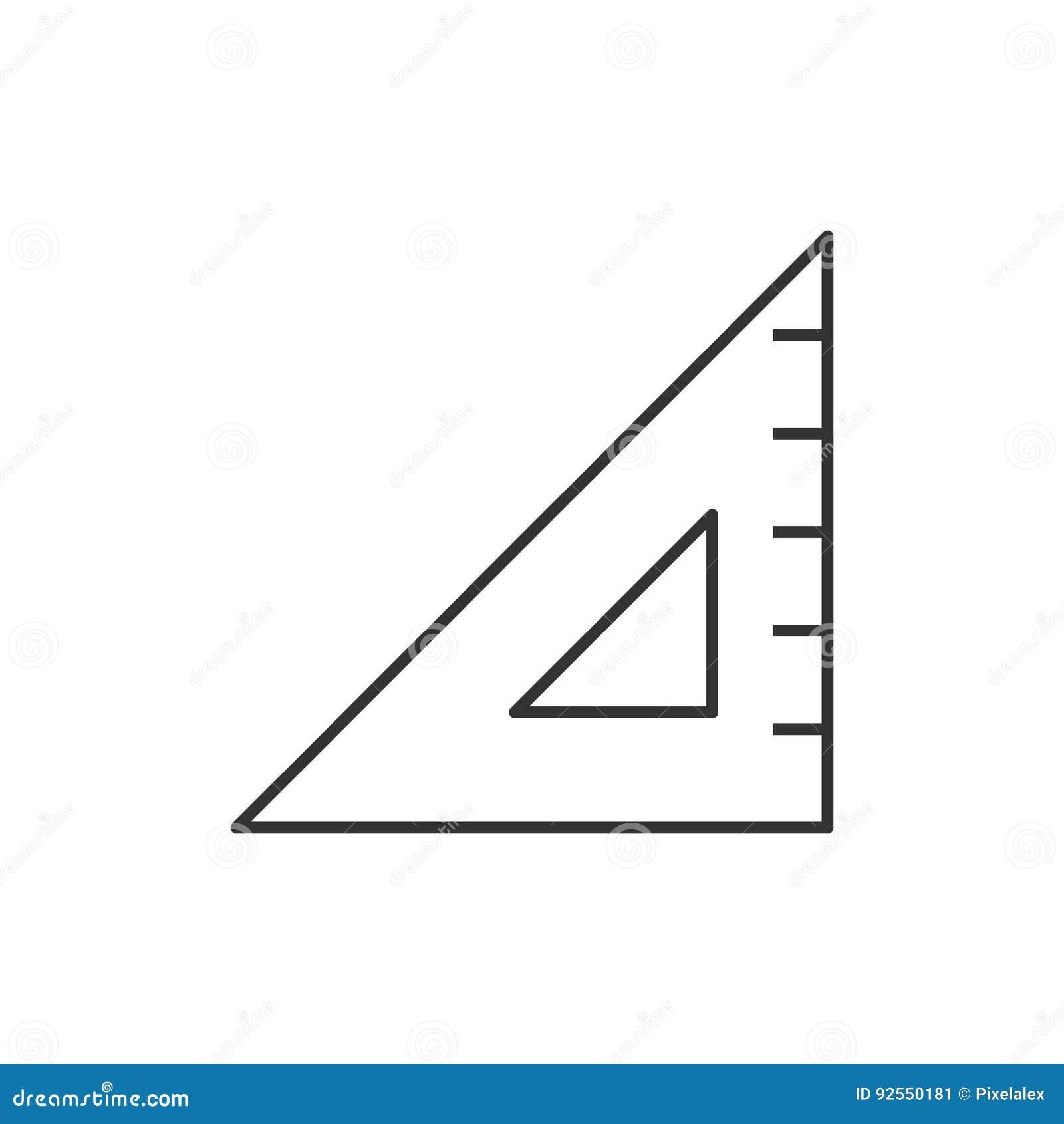 Linea del regolo triangolare icona