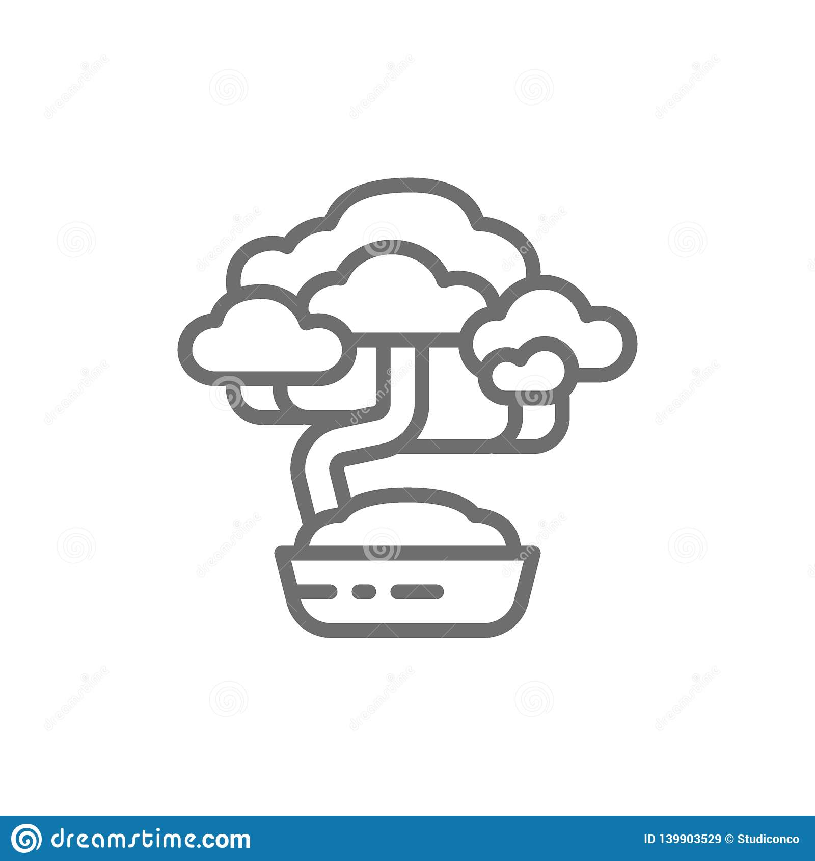 Linea di albero dei bonsai icona
