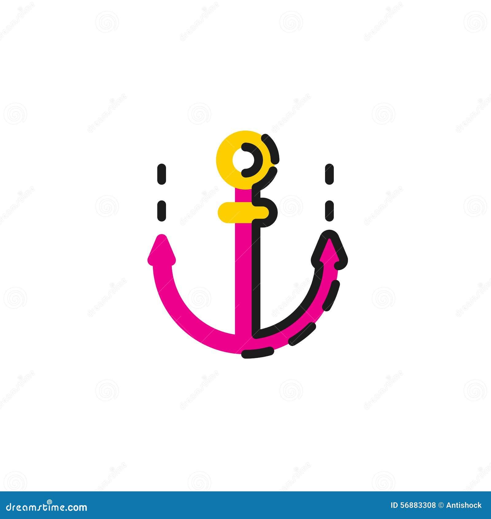 Linea di colore icona per progettazione piana ancoraggio