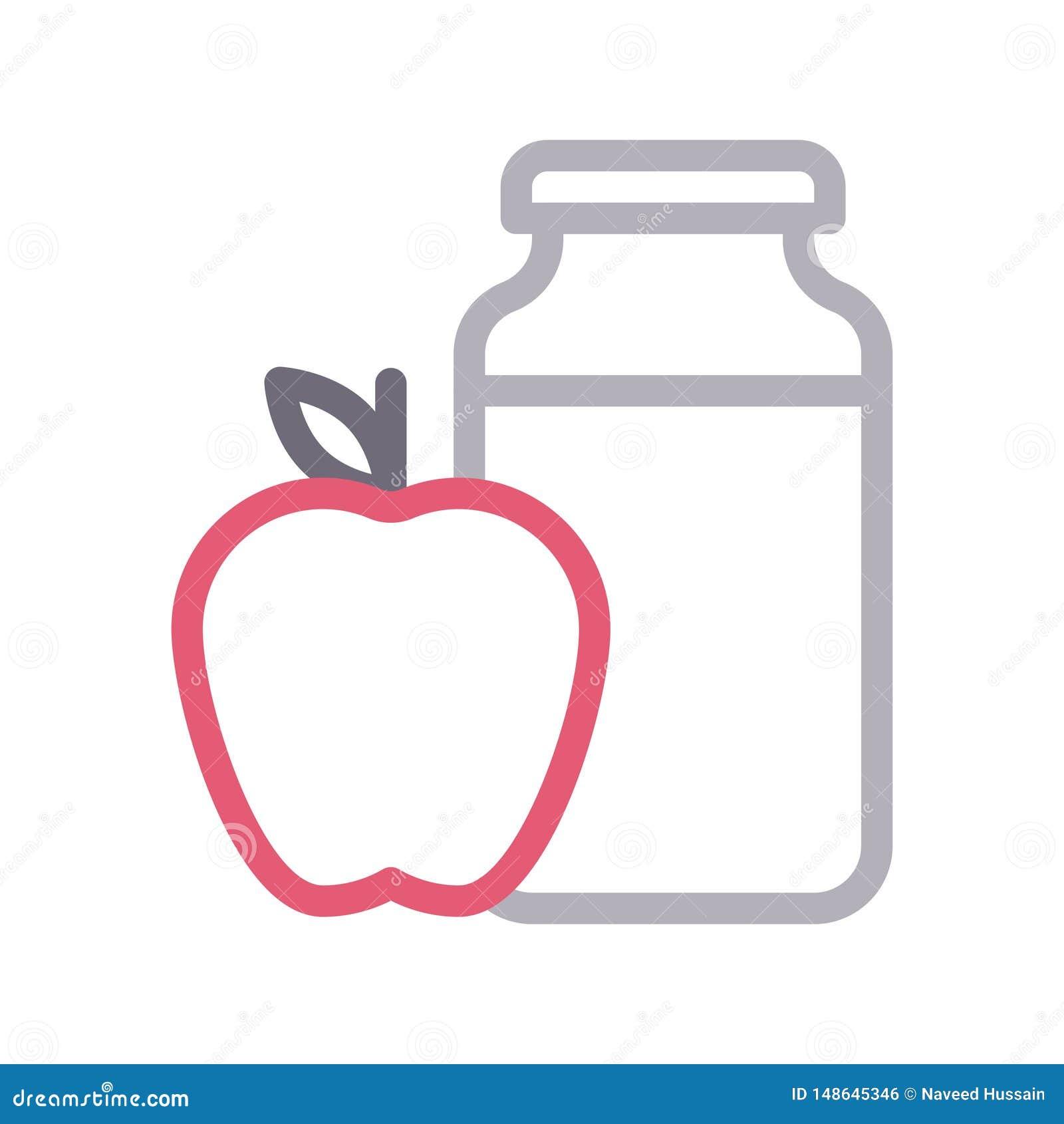 Linea di colore sottile del barattolo di Apple icona di vettore