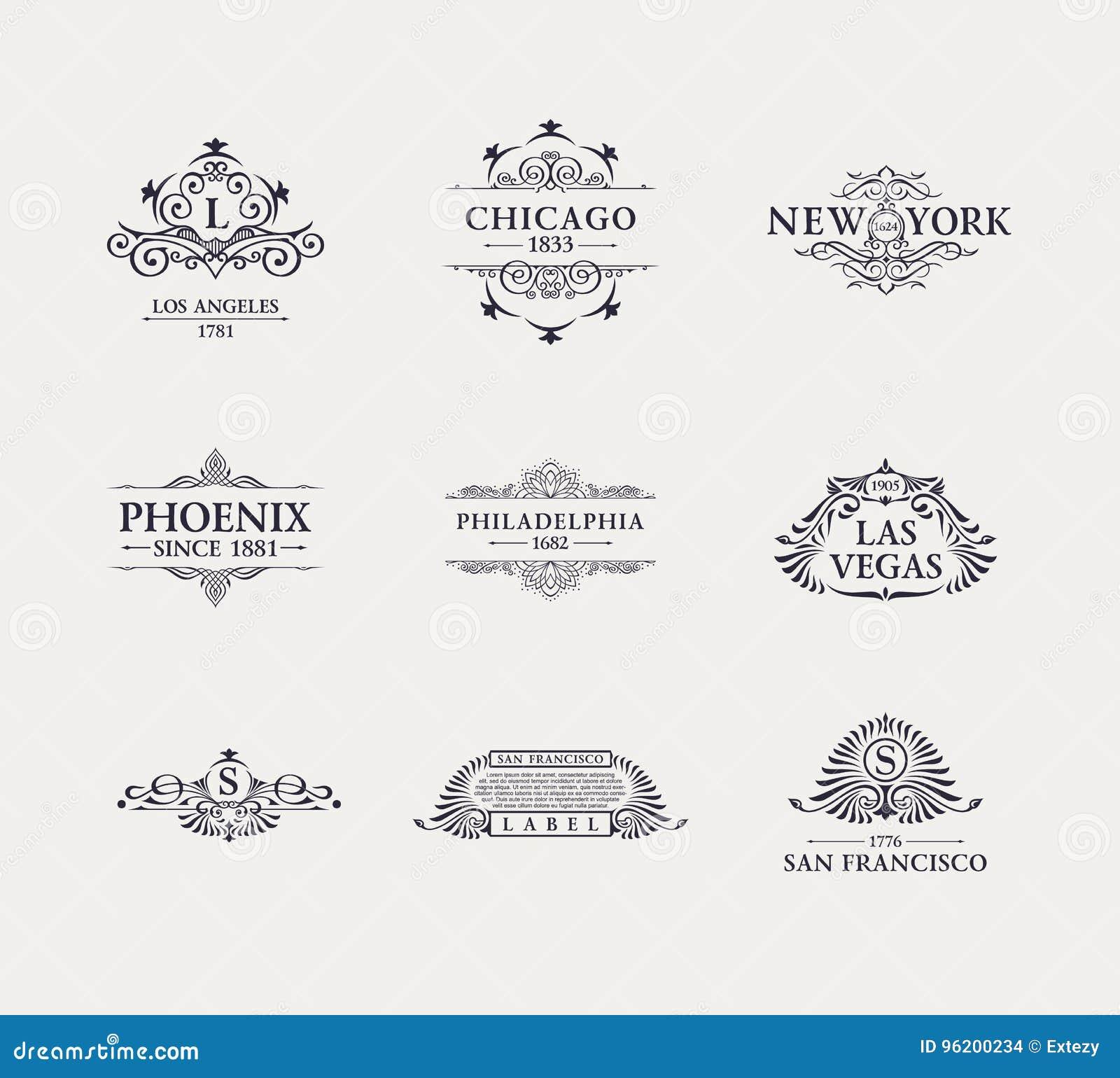 Linea di lusso calligrafica logo Fiorisce il monogramma elegante dell emblema Progettazione d annata reale del divisore