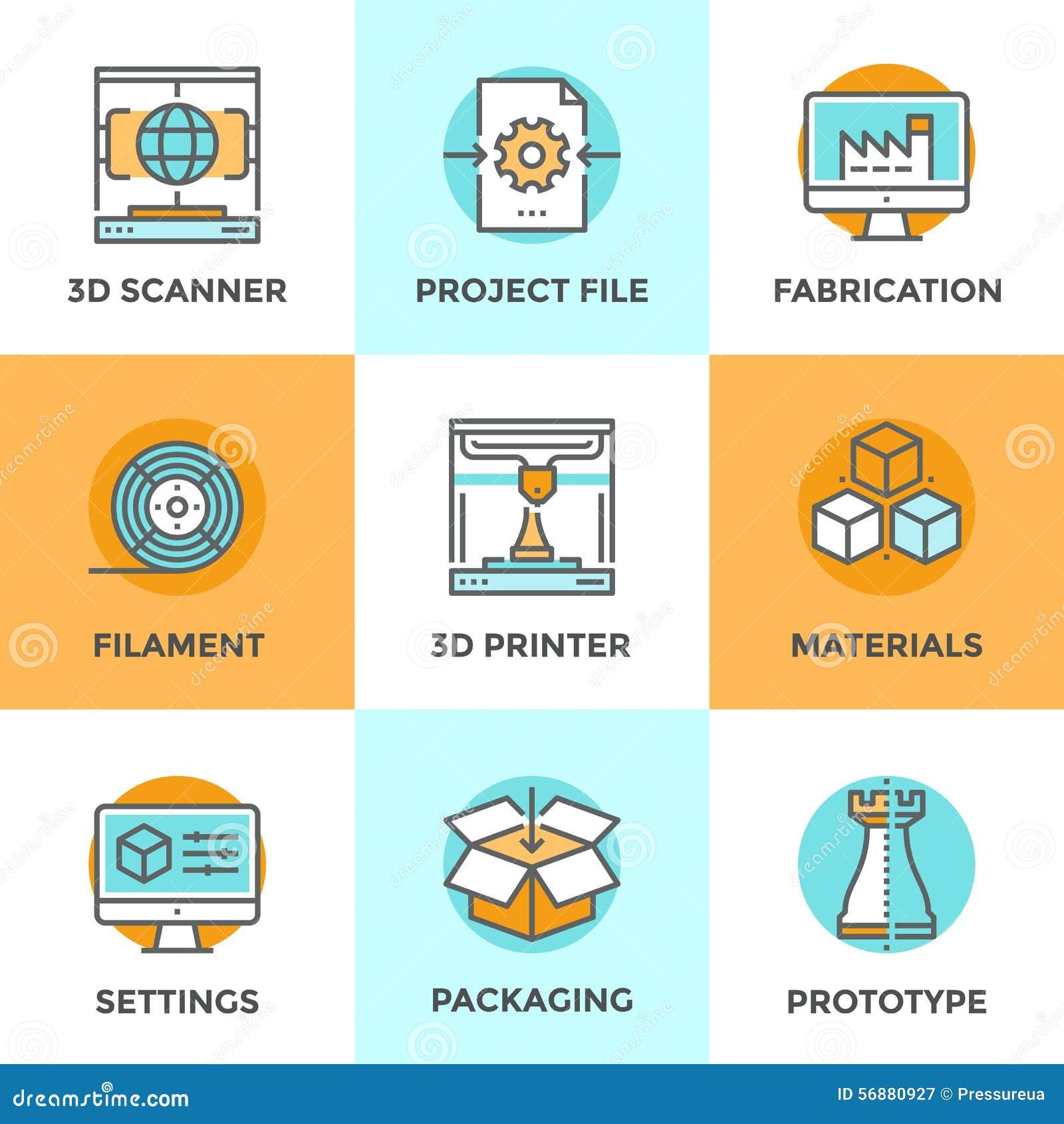 Linea di stampa 3D icone messe