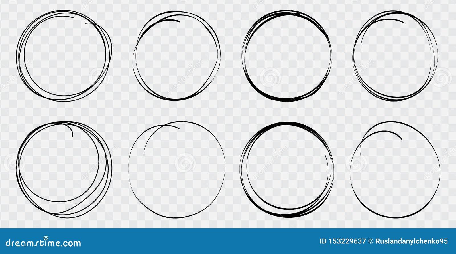 Linea disegnata a mano insieme del cerchio di schizzo Campi vettoriali rotondi di scrittura, cerchi per i messaggi dipinti con la