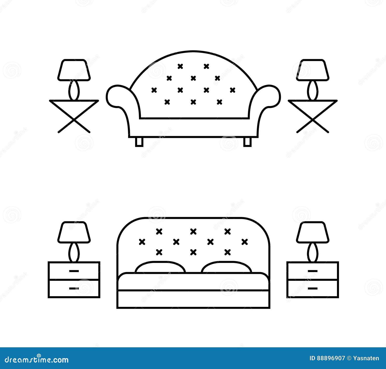 Linea disposizioni del salone e della camera da letto di vettore di arte