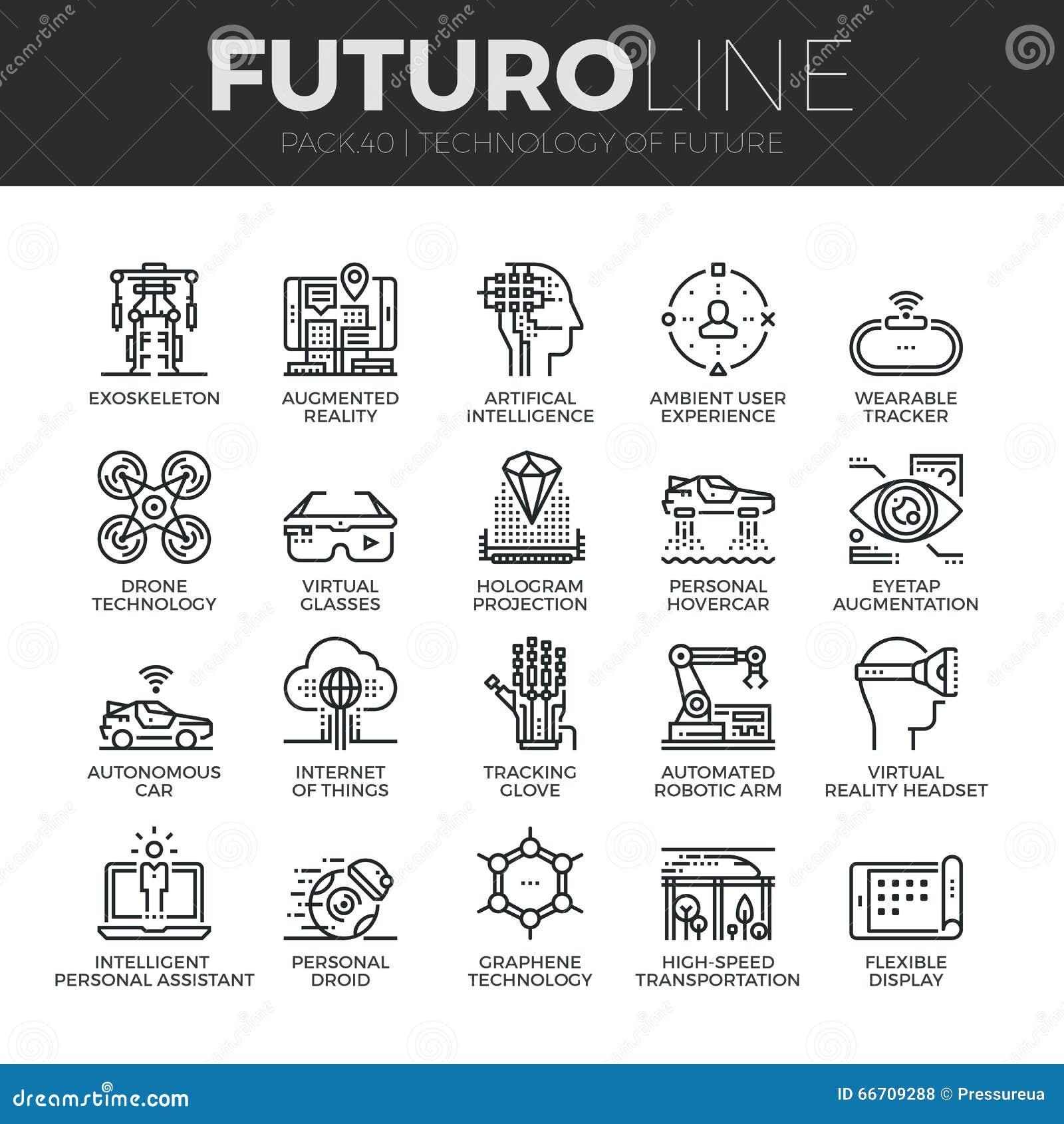 Linea futura icone di Futuro di tecnologia messe