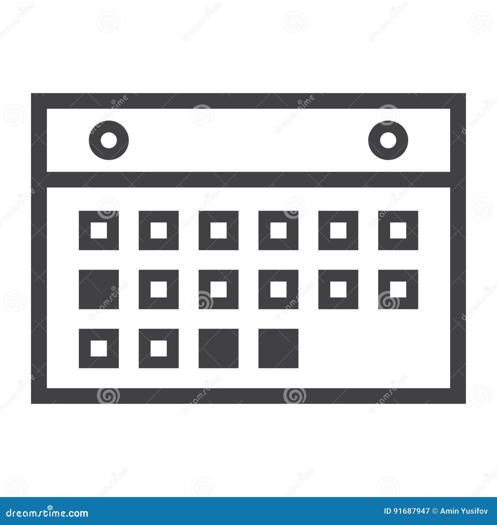 Calendario Per Sito Web.Linea Icona Cellulare E Sito Web Del Calendario
