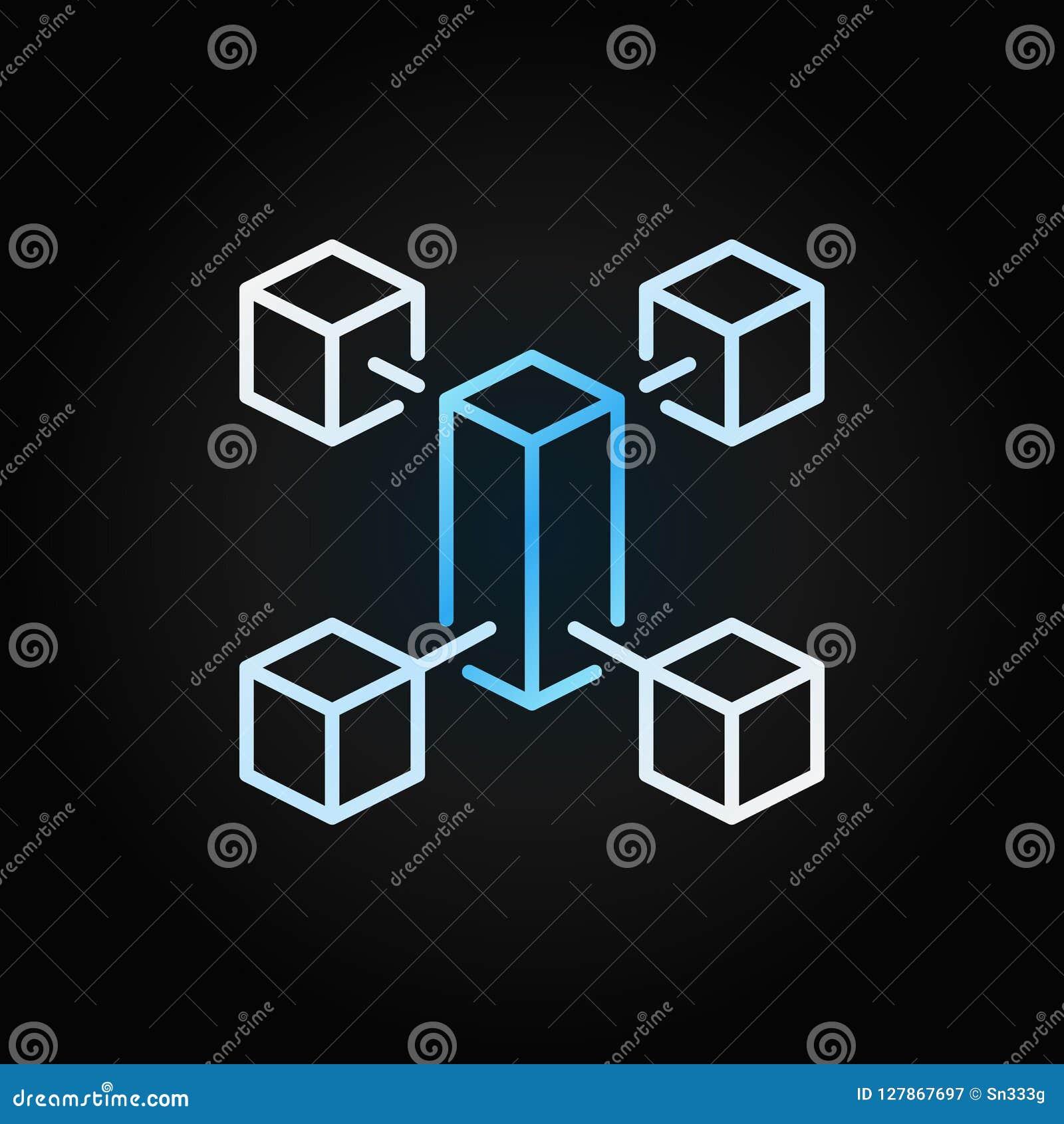 Linea icona colorata creativa di Blockchain Simbolo di concetto di vettore