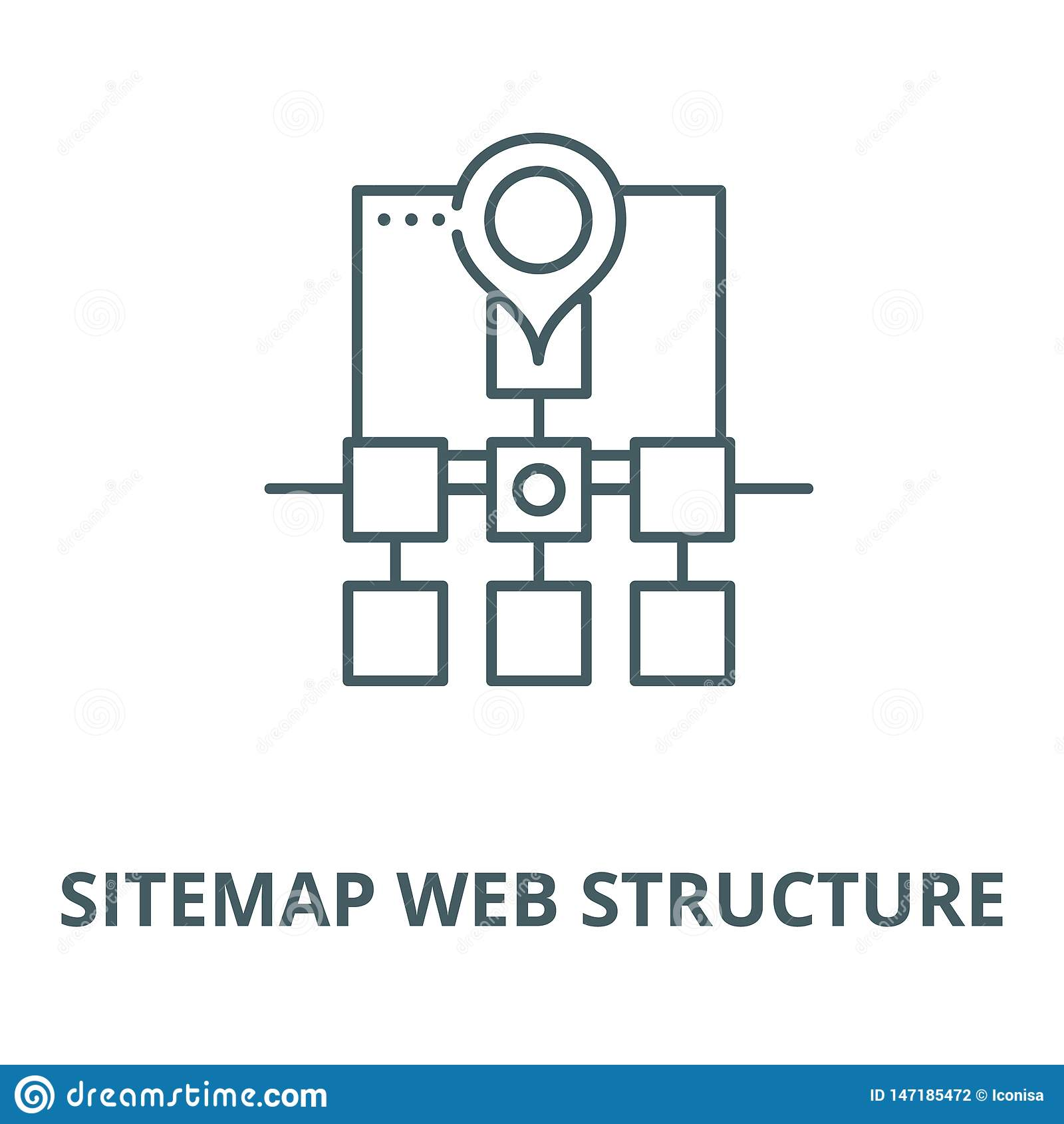 Linea icona, concetto lineare, segno del profilo, simbolo di vettore della struttura di web di Sitemap