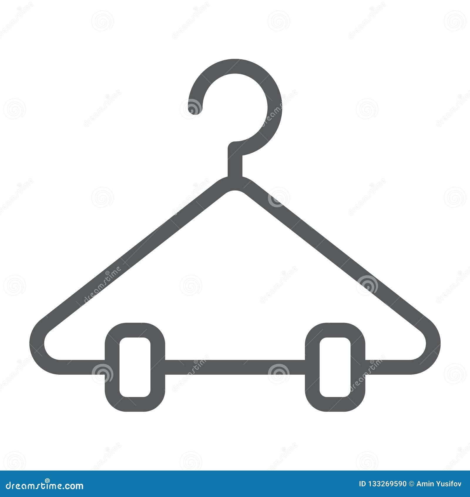 Linea icona del gancio, gabinetto e guardaroba, segno dello scaffale, grafica vettoriale, un modello lineare su un fondo bianco