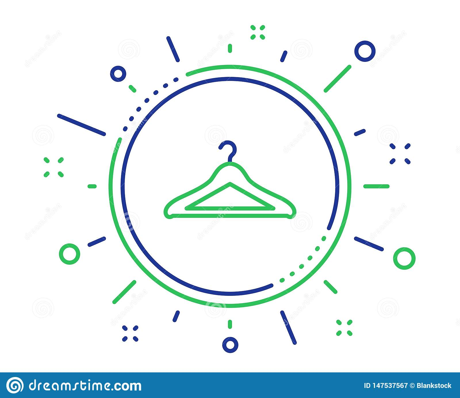 Linea icona del guardaroba Segno del guardaroba del gancio Vettore