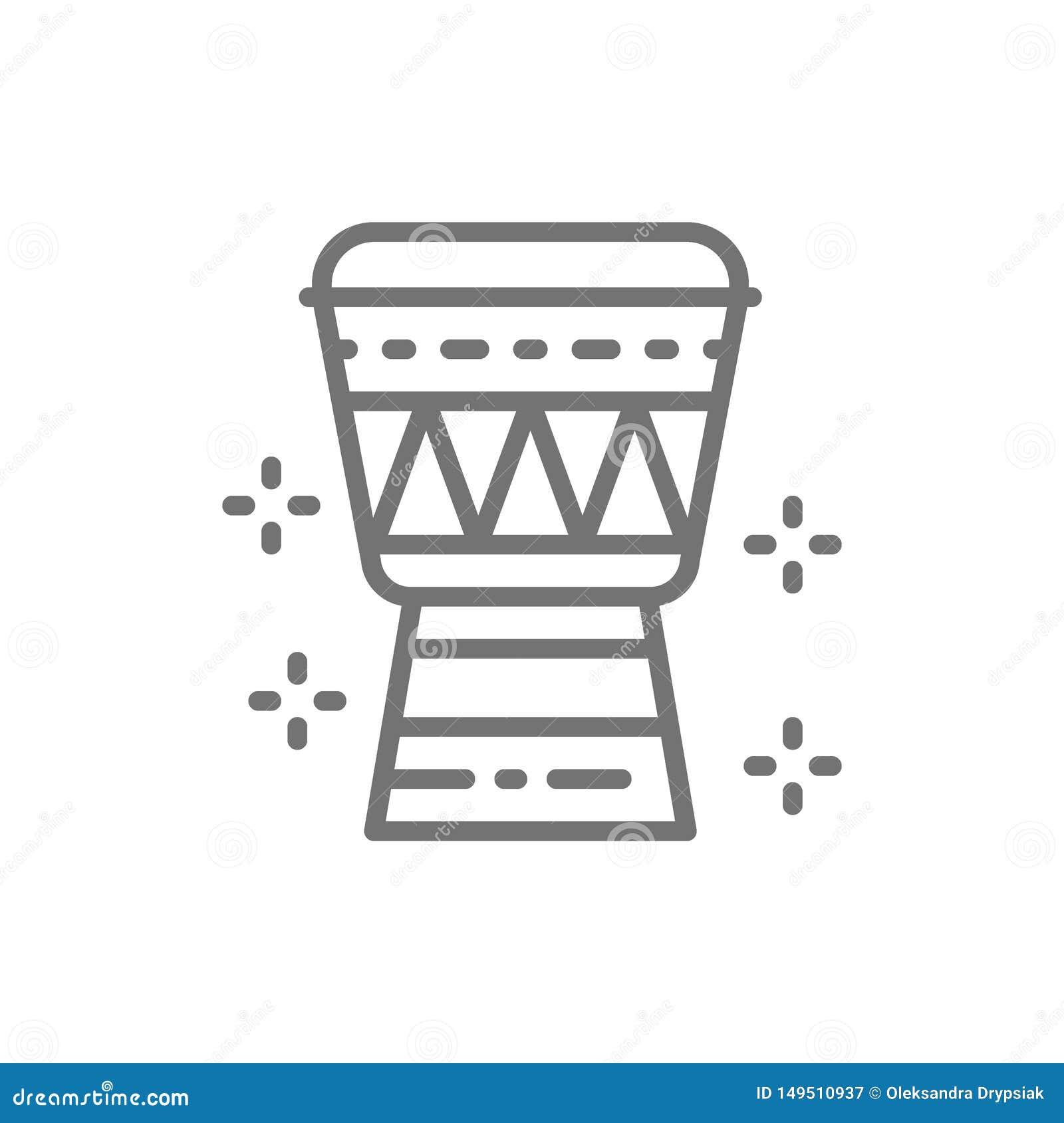 Linea icona del tamburo di Djembe dell Africano