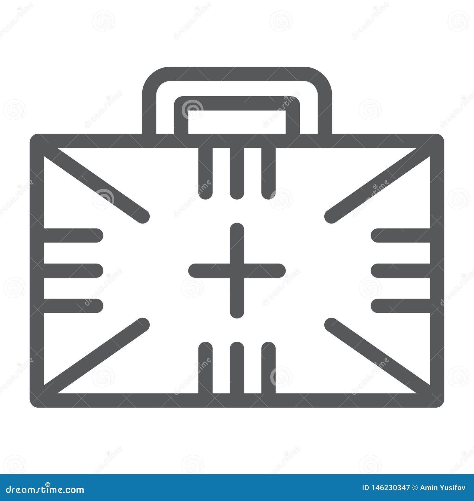 Linea icona della cassetta di pronto soccorso, scatola ed emergenza, segno medico di caso, grafica vettoriale, un modello lineare