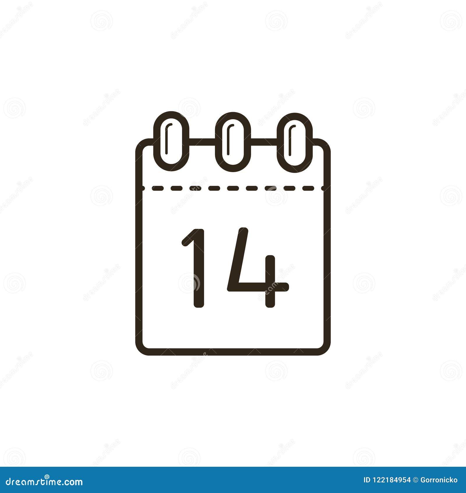 Linea icona di arte del calendario di sradicamento con il quattordicesimo sullo strato