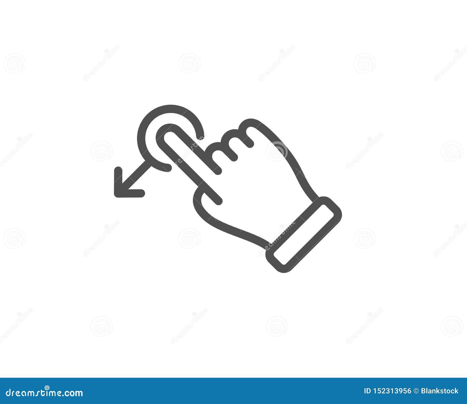 Linea icona di gesto di goccia di resistenza Segno della freccia dello scorrevole Azione del colpo Vettore