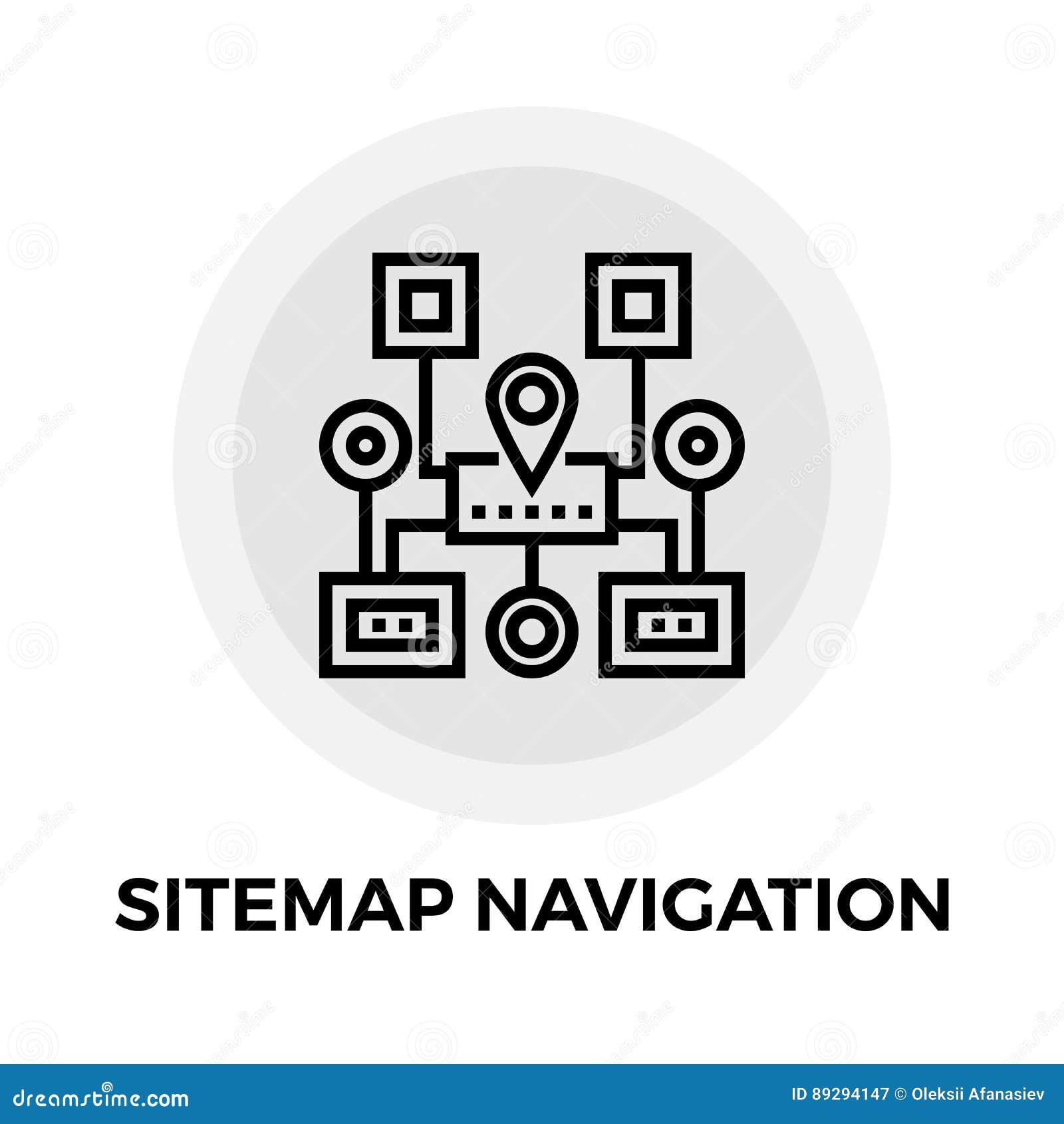 Linea icona di navigazione di Sitemap