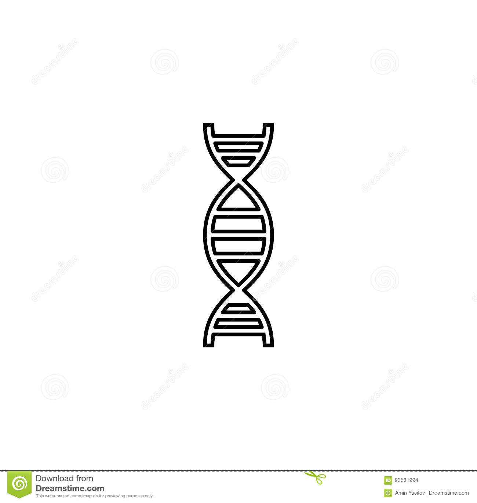 Linea icona, elemento del DNA del segno medico e genetico