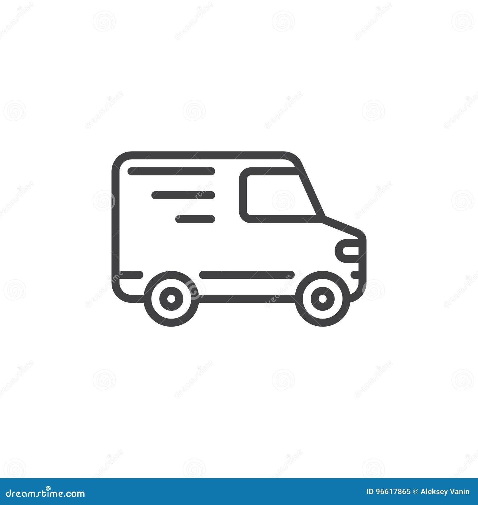Linea icona, segno del camion di consegna di vettore del profilo