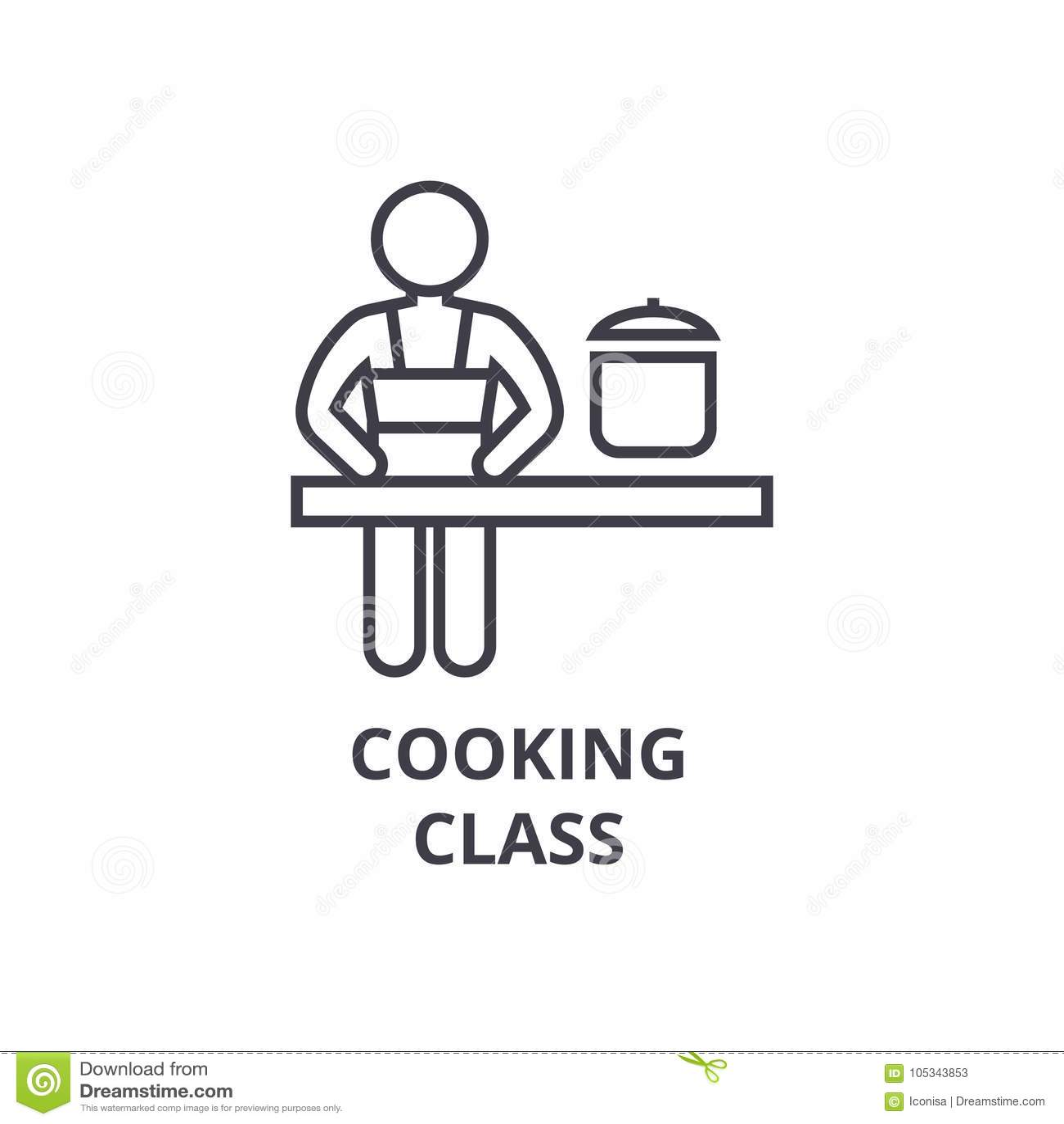 Linea icona, segno del profilo, simbolo lineare, vettore, illustrazione piana della classe di cottura