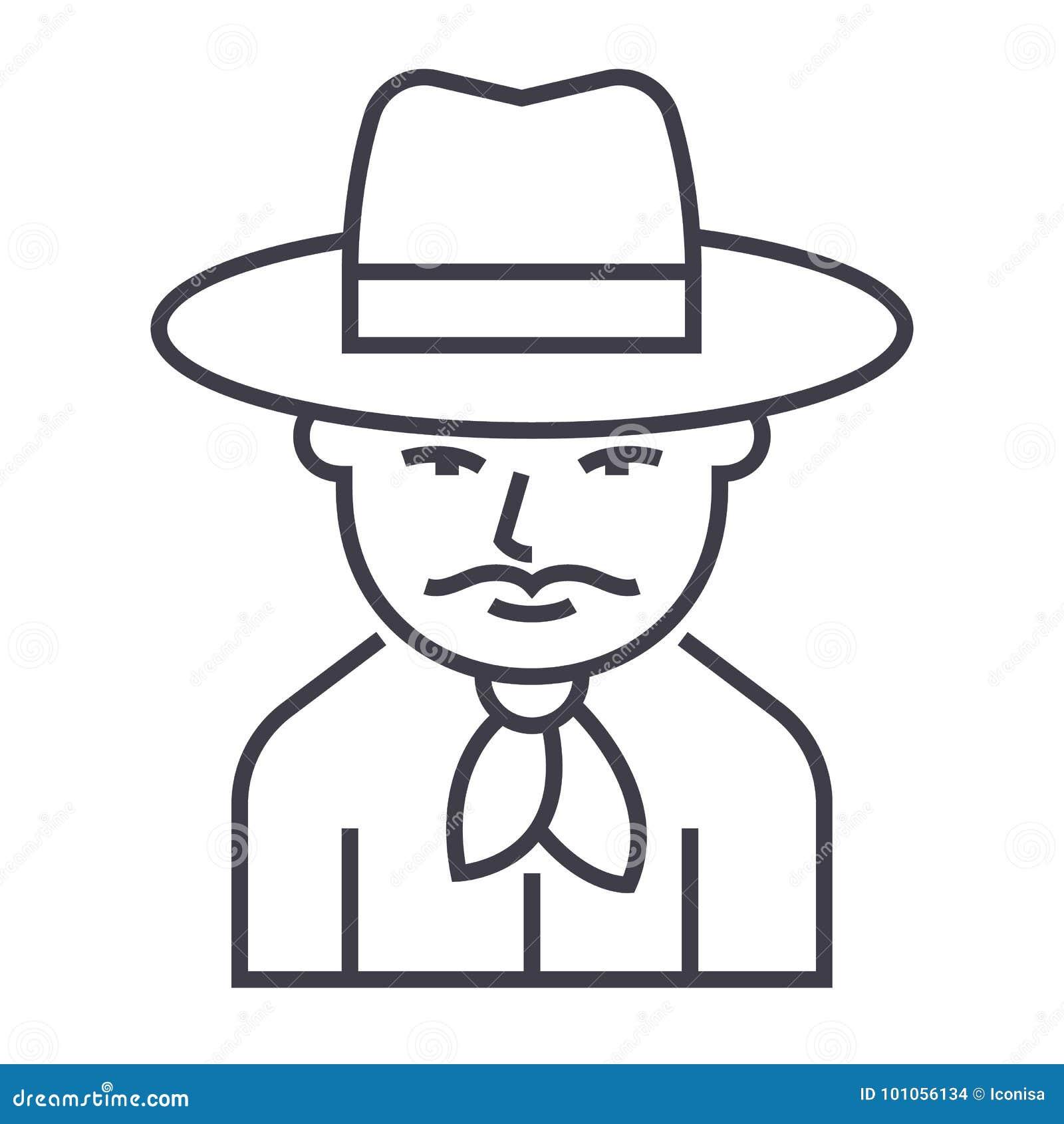Linea icona, segno, illustrazione di vettore del cowboy su fondo, colpi editabili