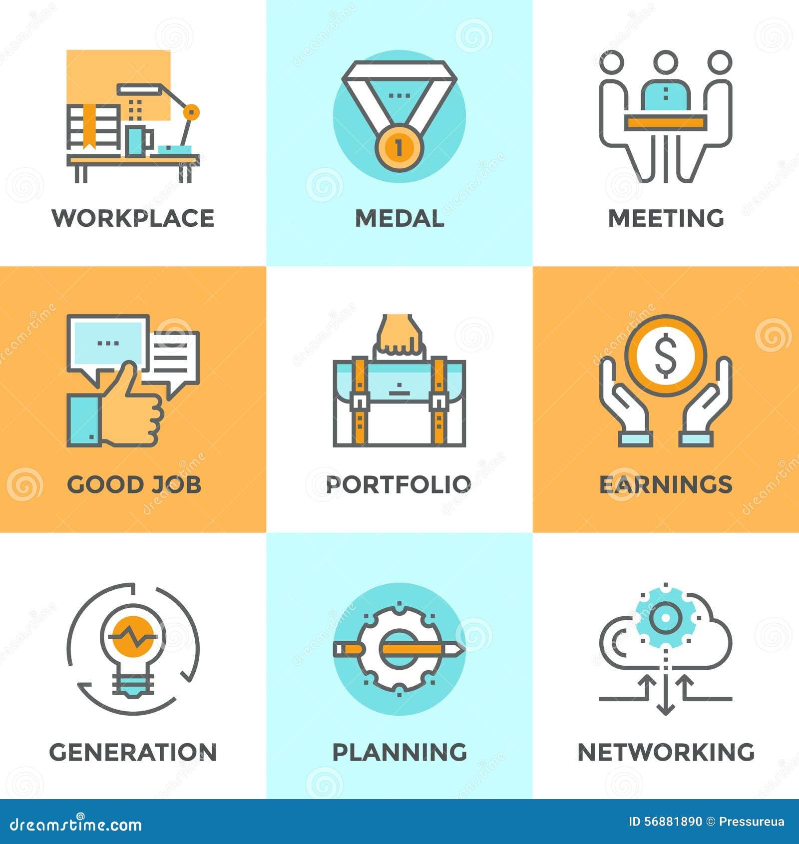 Linea icone degli elementi di affari messe