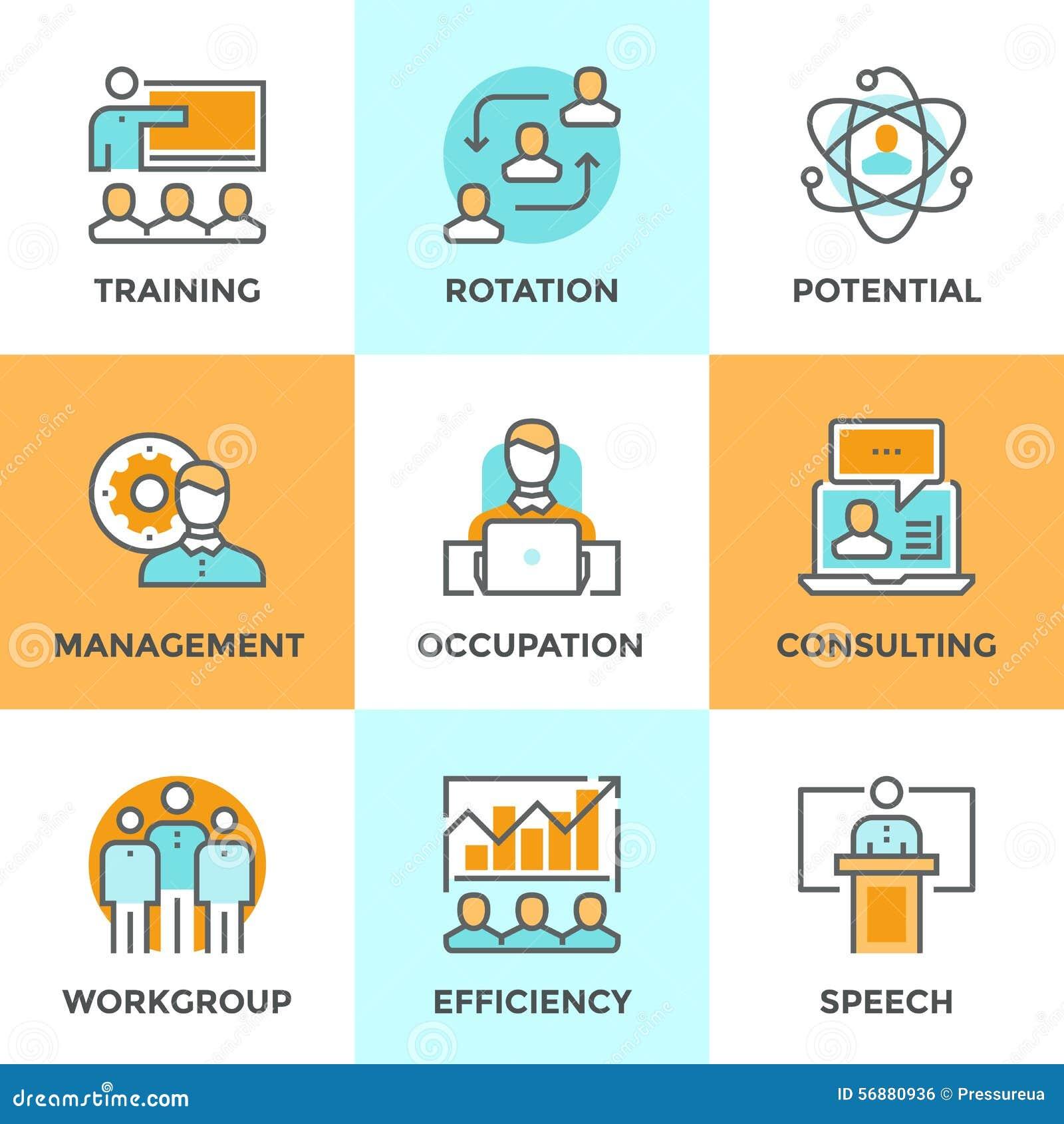 Linea icone della gestione aziendale messe