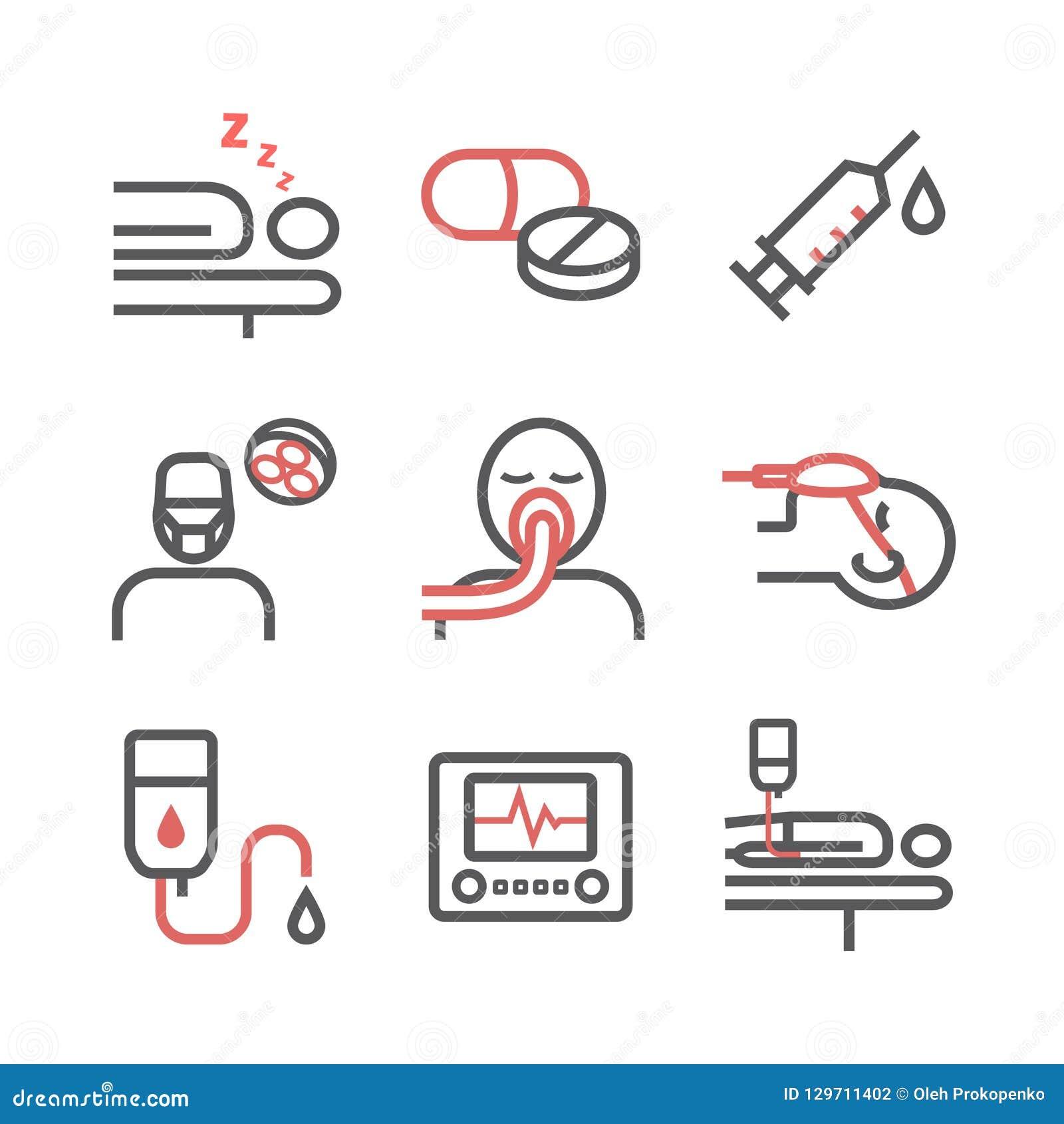 Linea icone di anestesia Dipartimento anestetico Centro sanitario Segno di vettore per i grafici di web