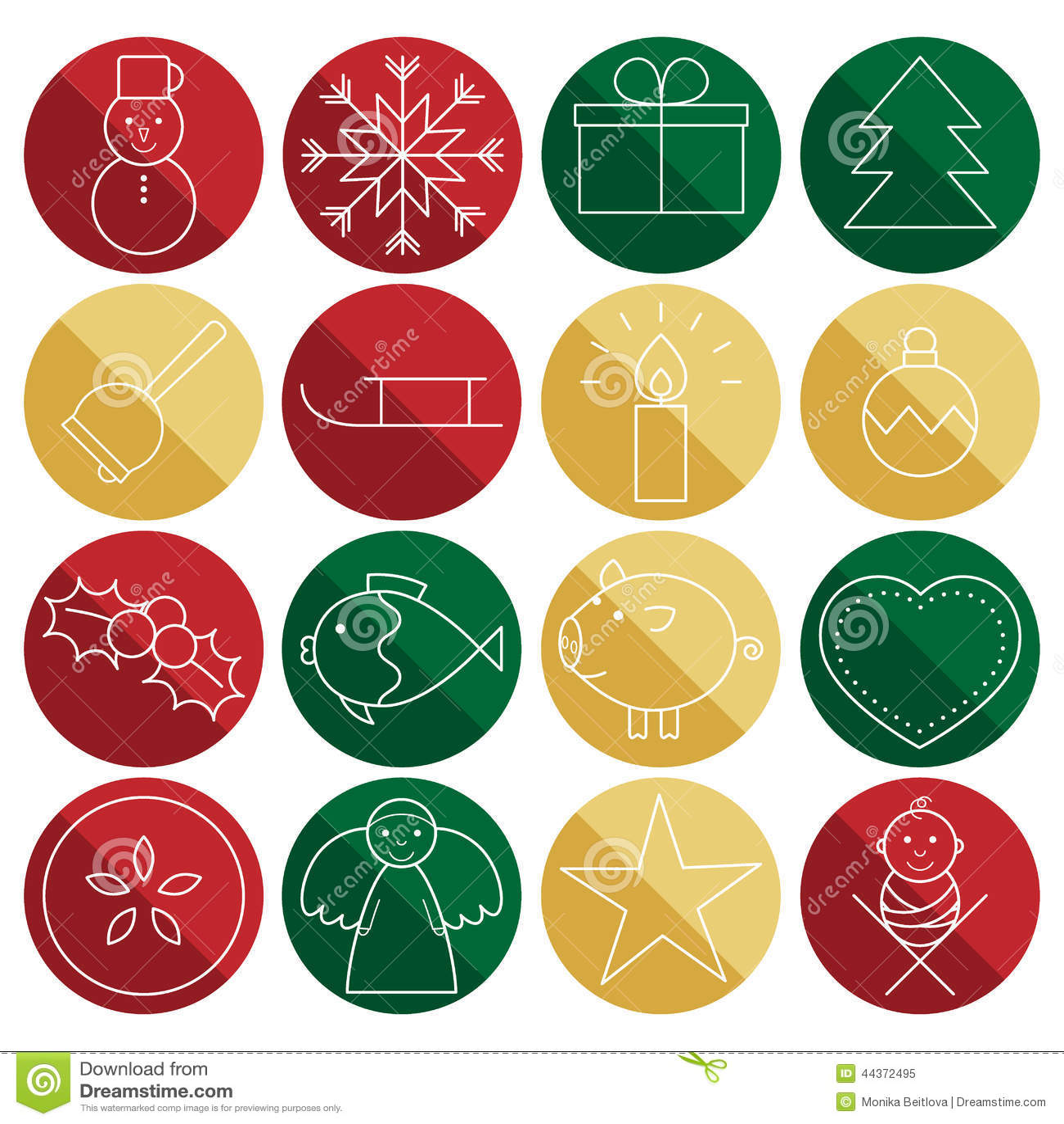 Linea icone di Natale nei cerchi