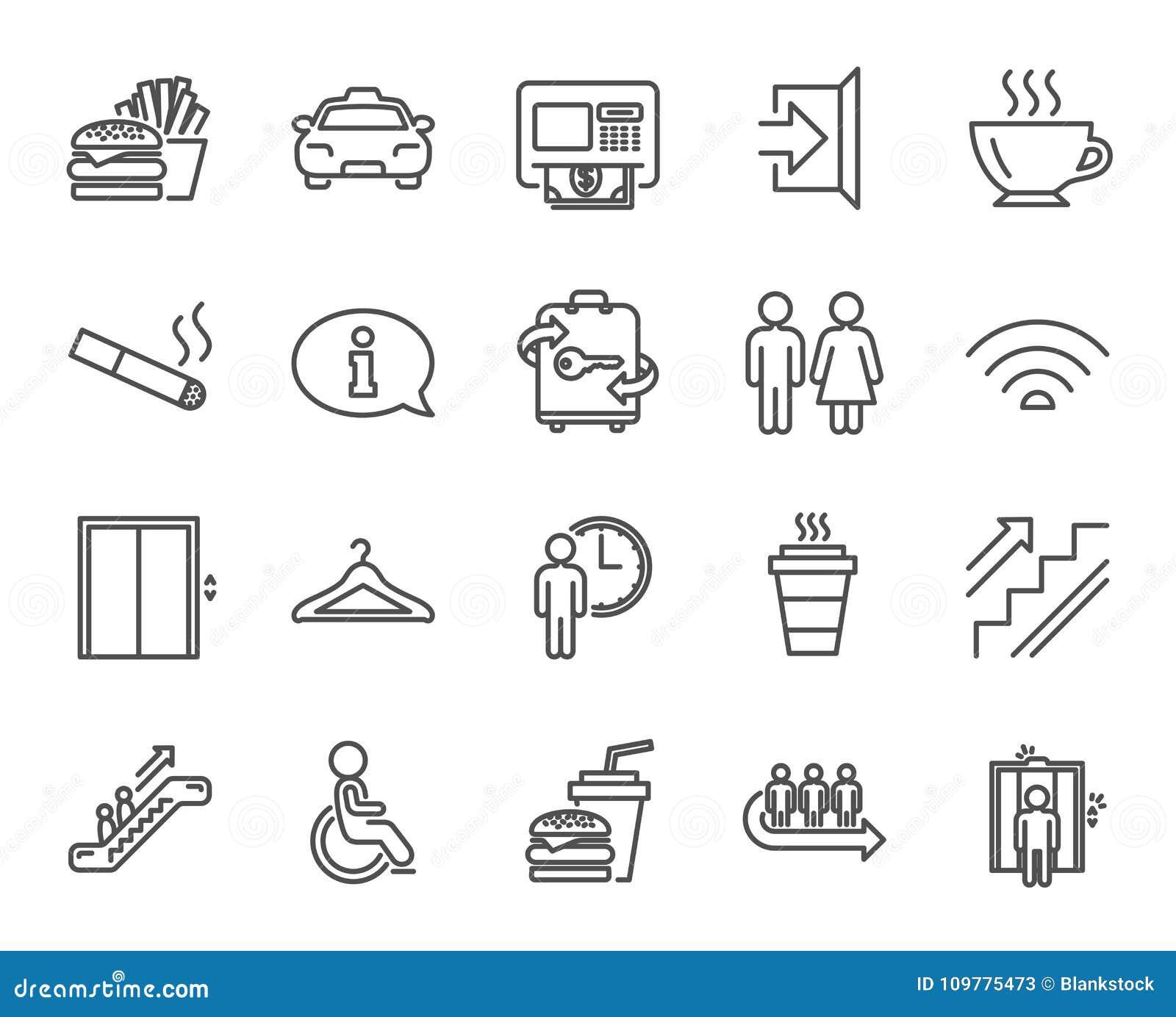 Linea icone di servizi pubblici Elevatore, guardaroba