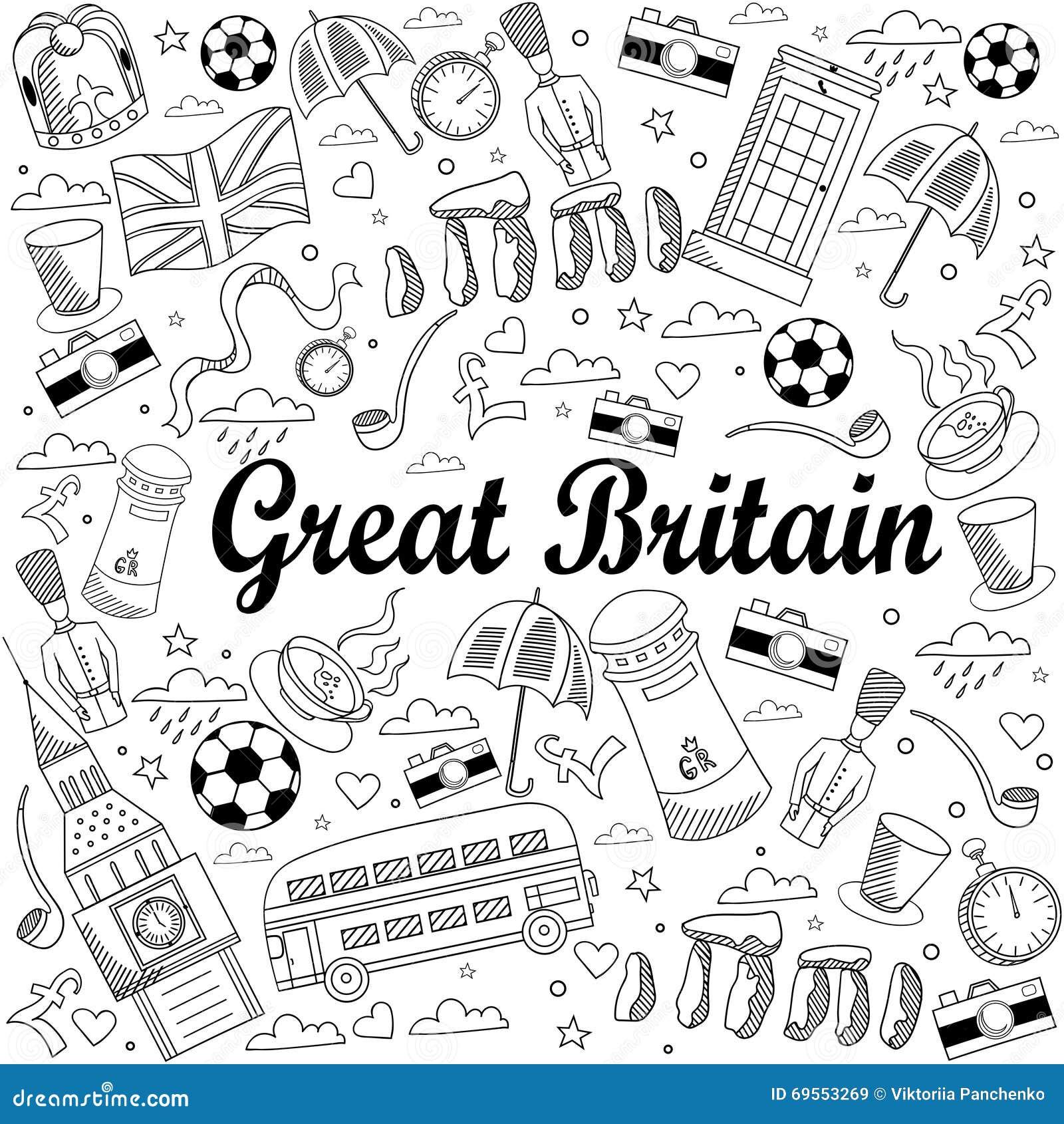 Gran Bretagna Cartina Da Colorare.Simboli Gran Bretagna Da Colorare