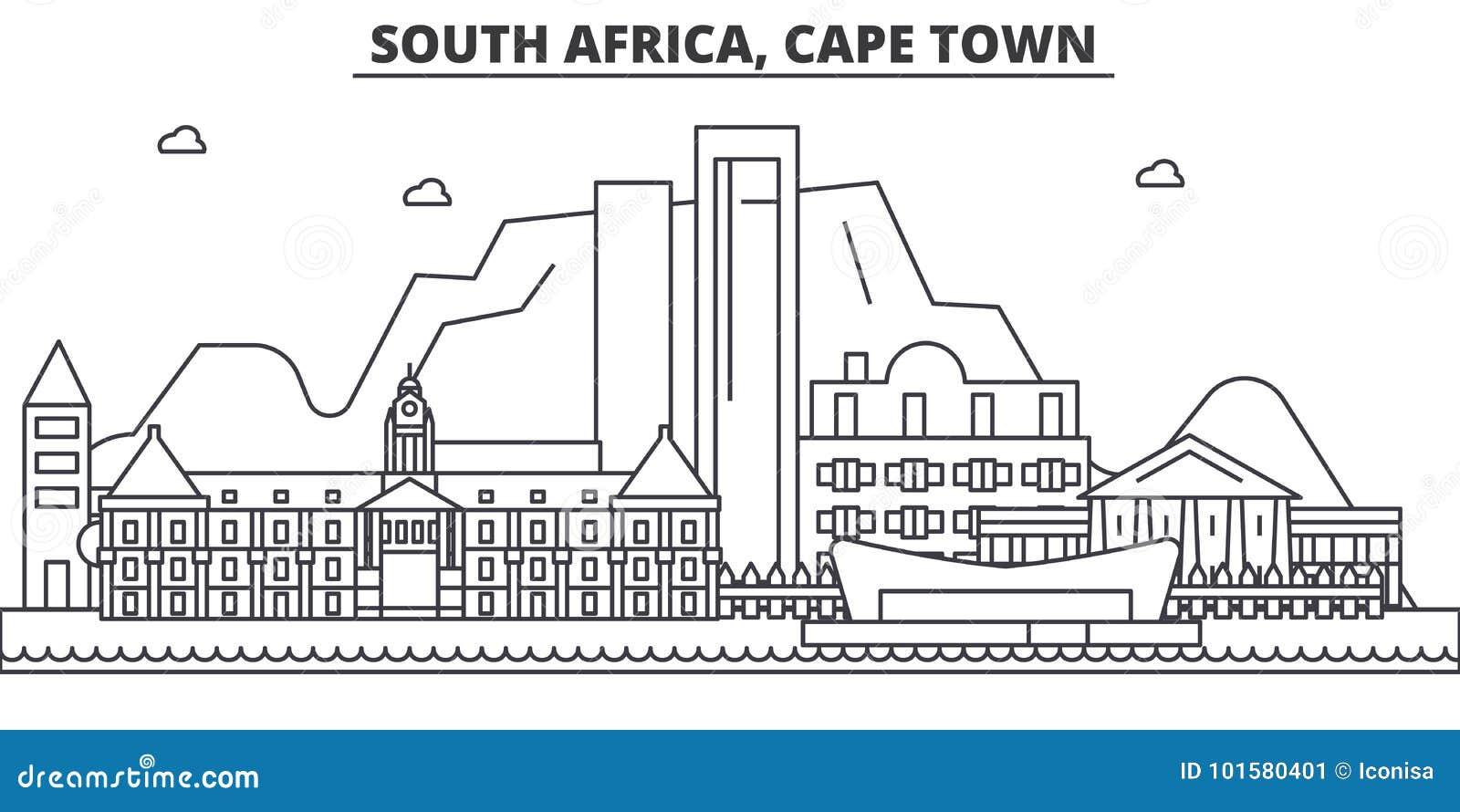Linea illustrazione di architettura del Sudafrica, Cape Town dell orizzonte Paesaggio urbano lineare con i punti di riferimento f
