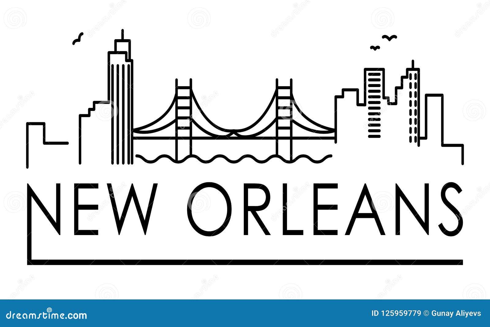 Linea illustrazione di architettura della Luisiana, New Orleans dell orizzonte Paesaggio urbano lineare con i punti di riferiment