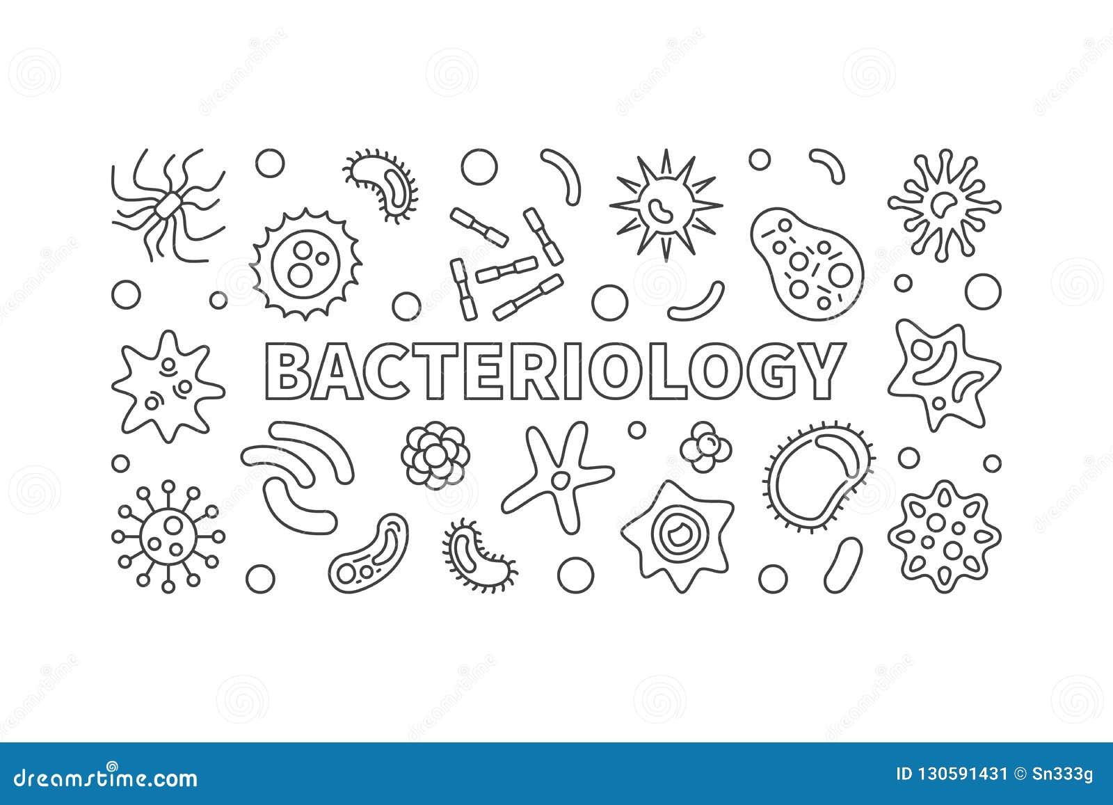 Linea insegna di batteriologia Illustrazione dei batteri di vettore
