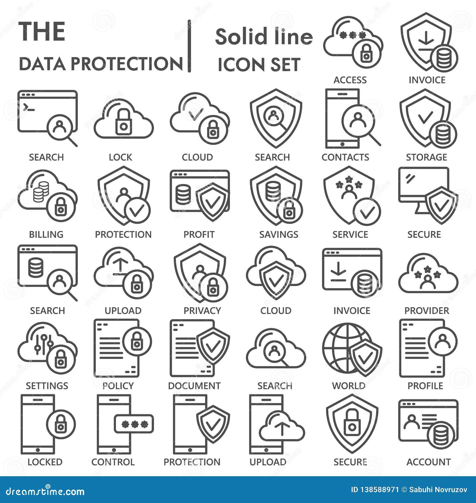 Linea insieme dell icona, simboli raccolta, schizzi di vettore, illustrazioni di logo, server di protezione dei dati di sicurezza