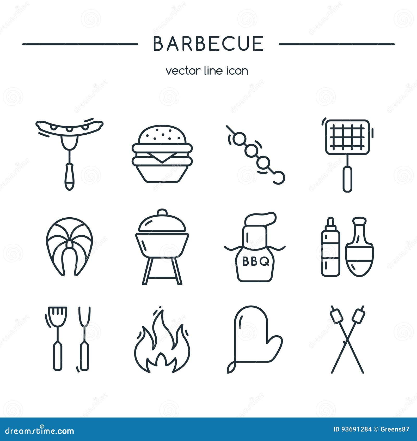 Linea insieme delle icone del barbecue