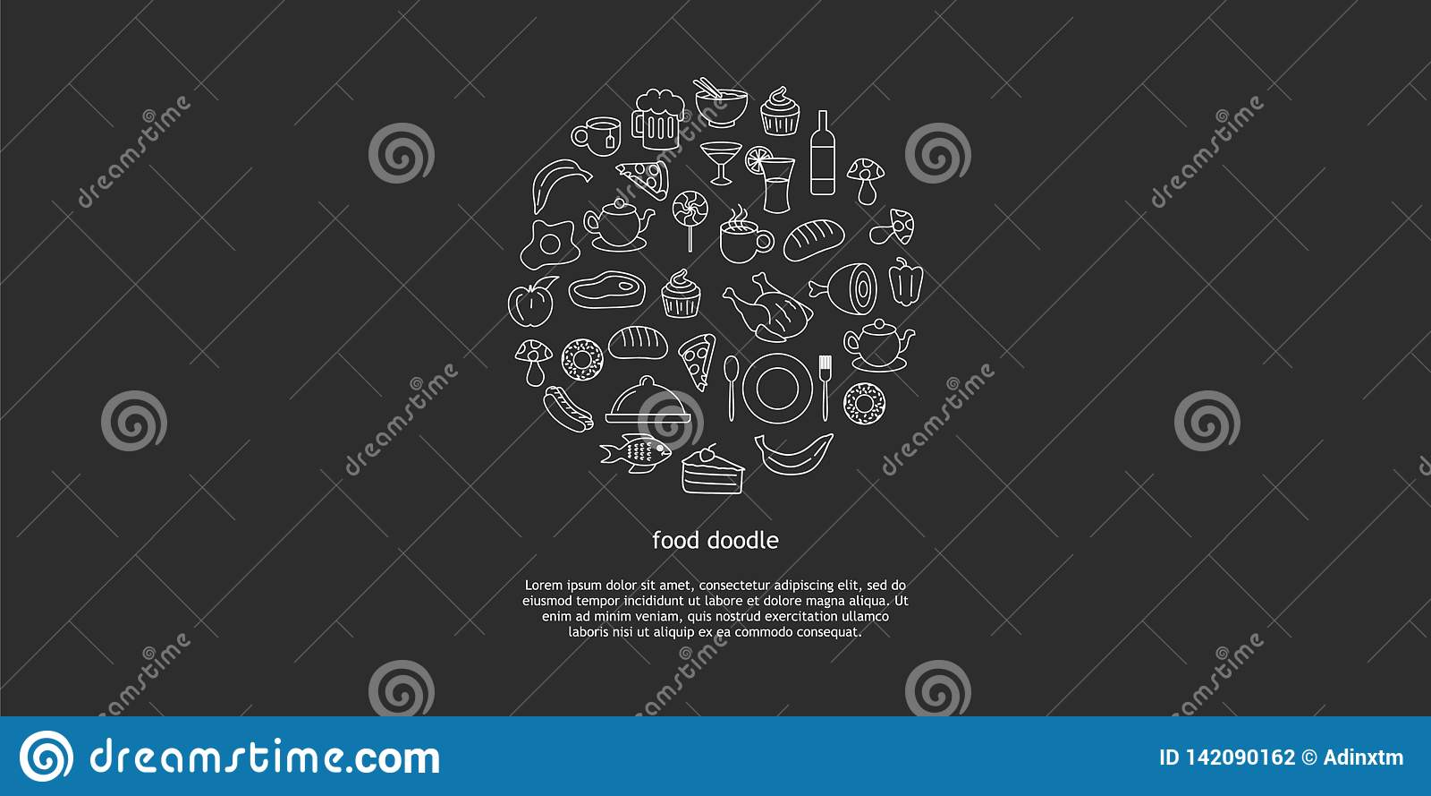Linea insieme disegnato a mano di vettore di arte degli oggetti, dei simboli e degli oggetti di scarabocchio del fumetto degli al