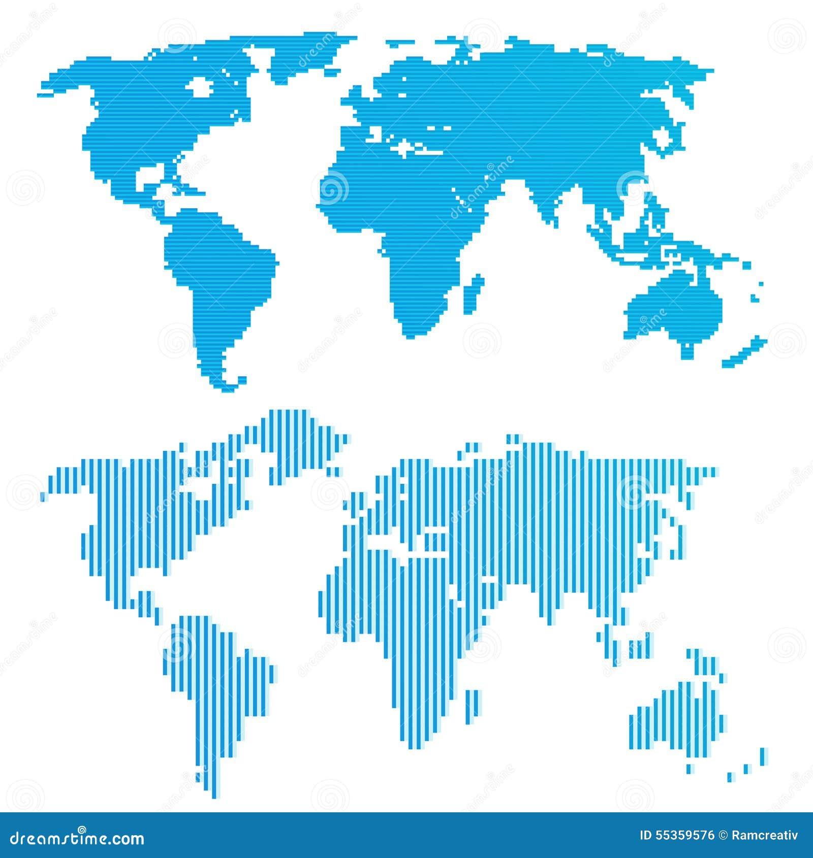 Linea mappa di mondo blu