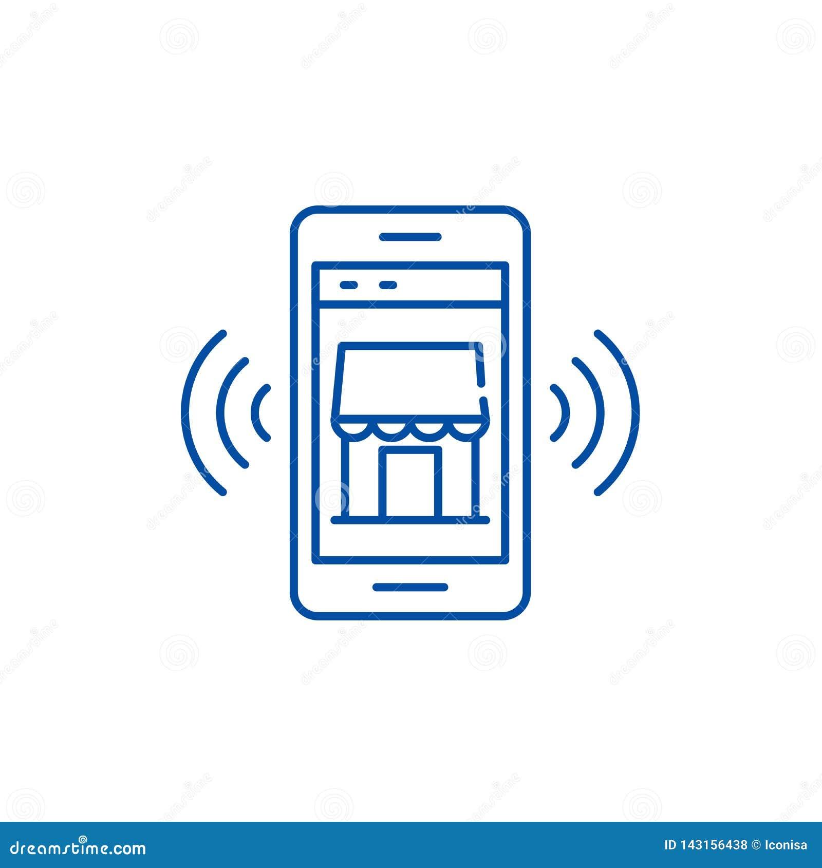 Linea mobile concetto della memoria elettronica dell icona Simbolo piano mobile di vettore della memoria elettronica, segno, illu