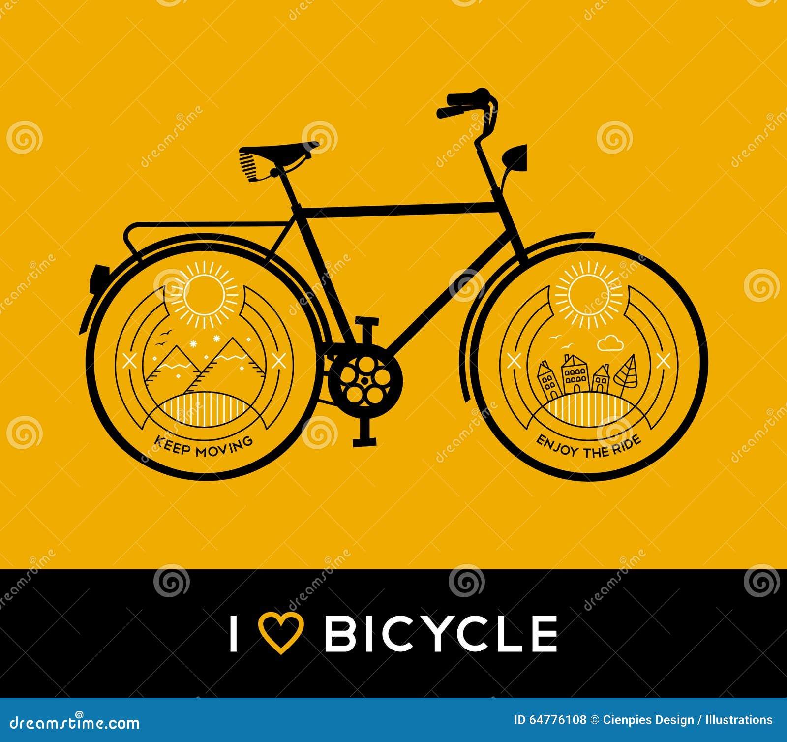 Linea Montagna Della Bicicletta Di Concetto Della Bici Della