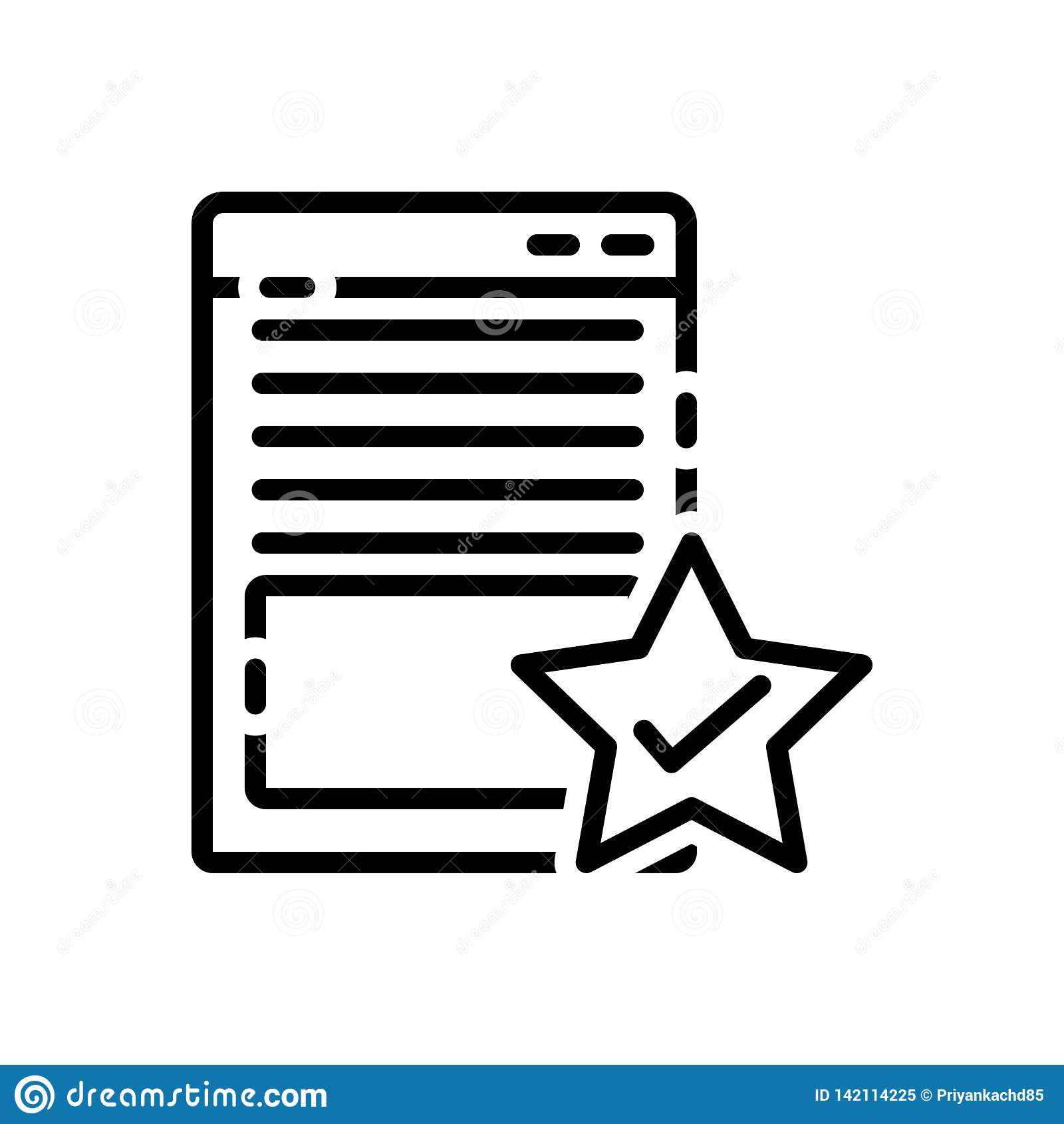 Linea nera icona per la pagina, la qualità e l attributo
