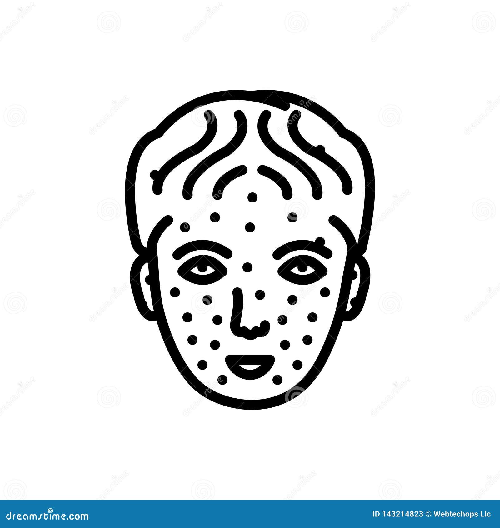 Linea nera icona per varicella, medico e la malattia