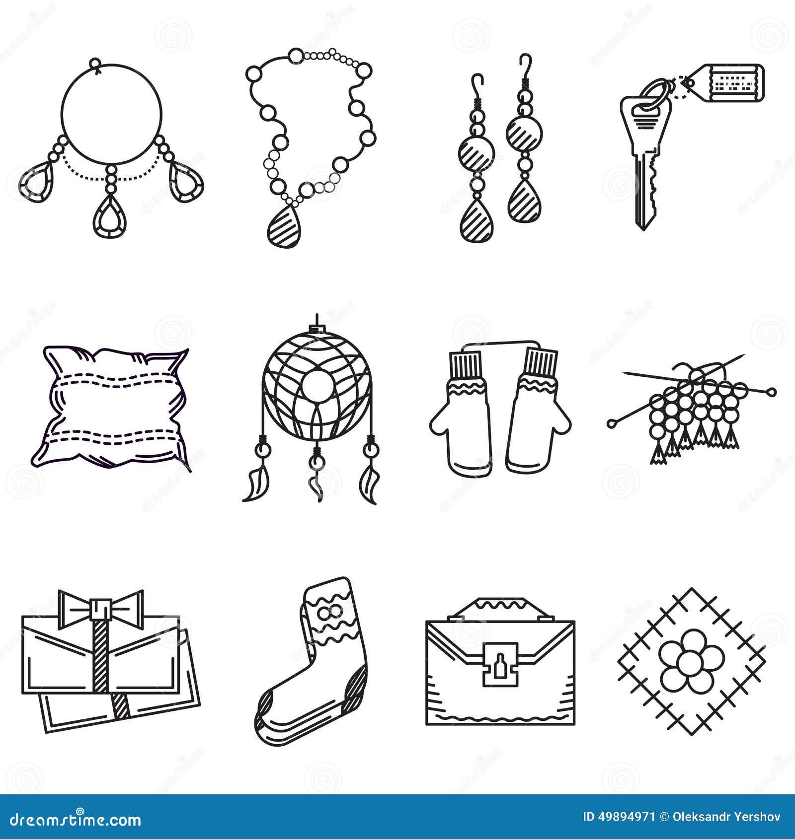 Linea nera raccolta delle icone per gli oggetti fatti a for Programmi per progettare oggetti