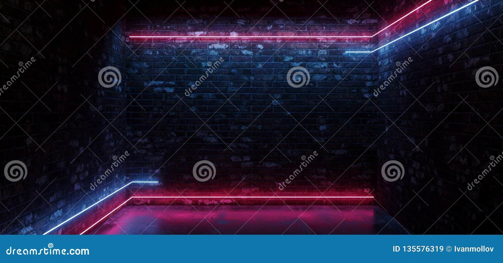 Linea orizzontale concreta d ardore rosa blu del neon del pavimento delle luci di Sci Fi di lerciume del muro di mattoni di porpo