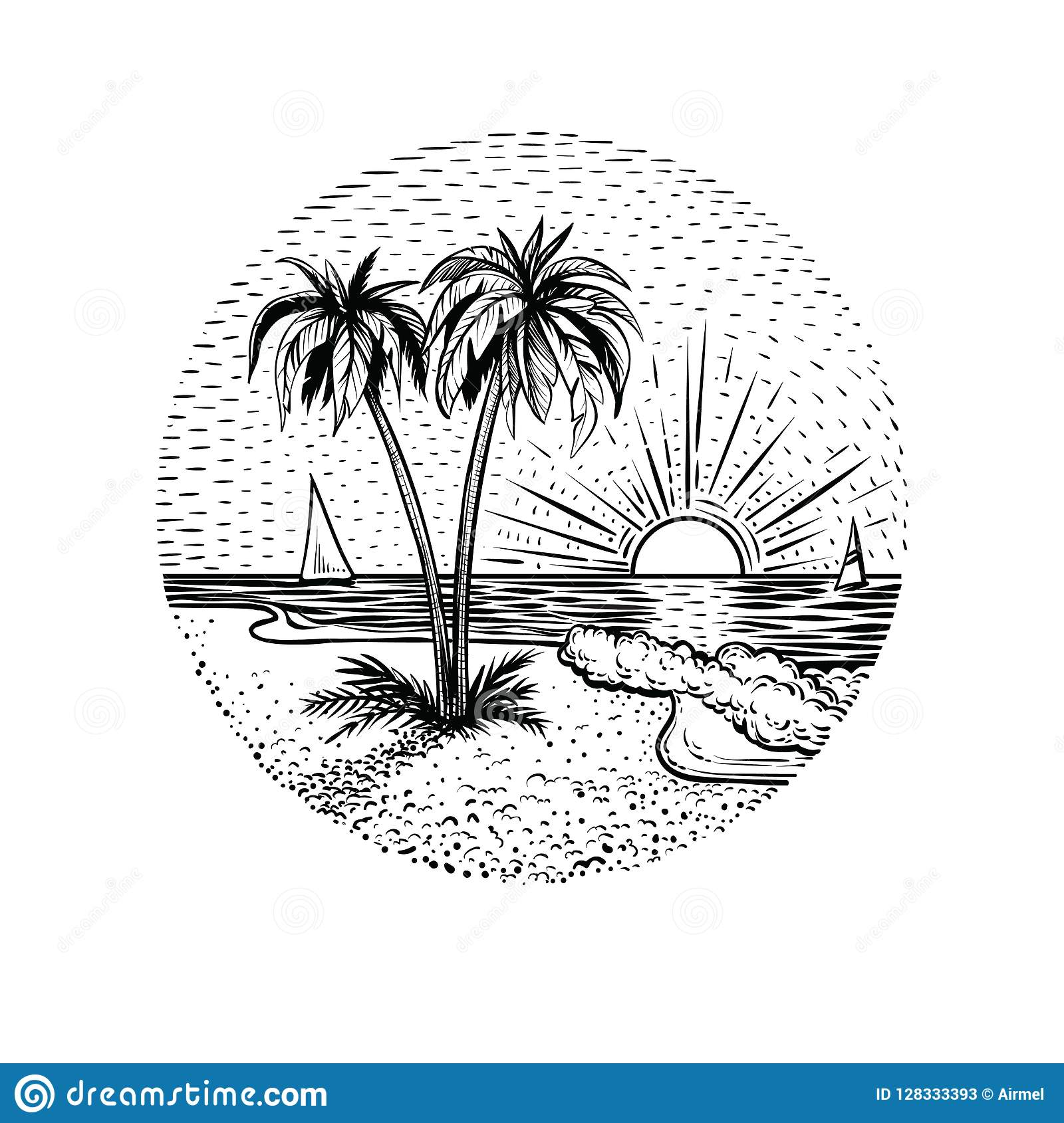 Linea paesaggio della spiaggia con le palme ed il tramonto Elemento rotondo dell emblema, della carta, del tatuaggio o di progett