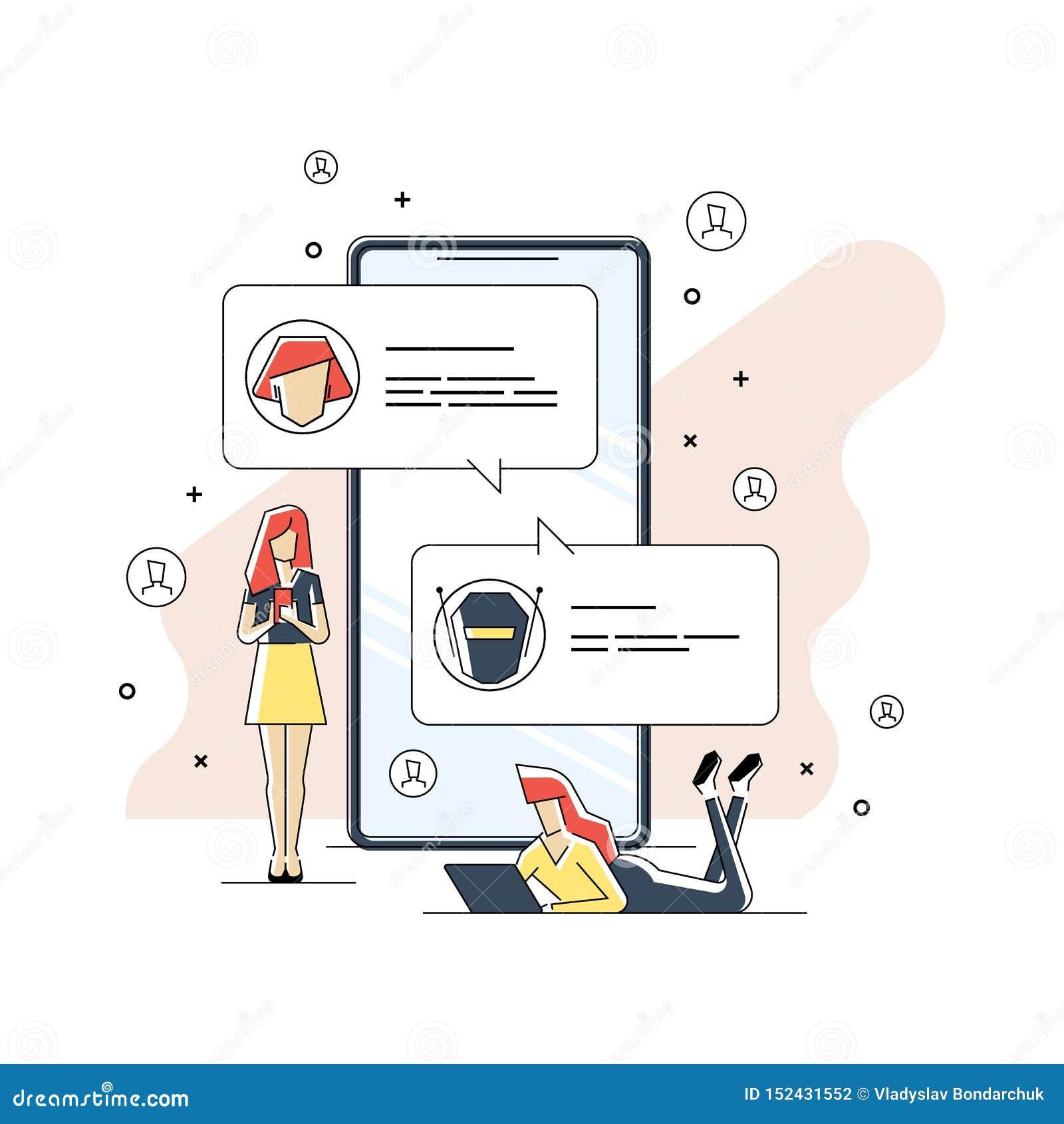 Linea piana concetto di Chatbot dell icona Uomo che chiacchiera con il bot di chiacchierata sullo smartphone Conversazione dell u