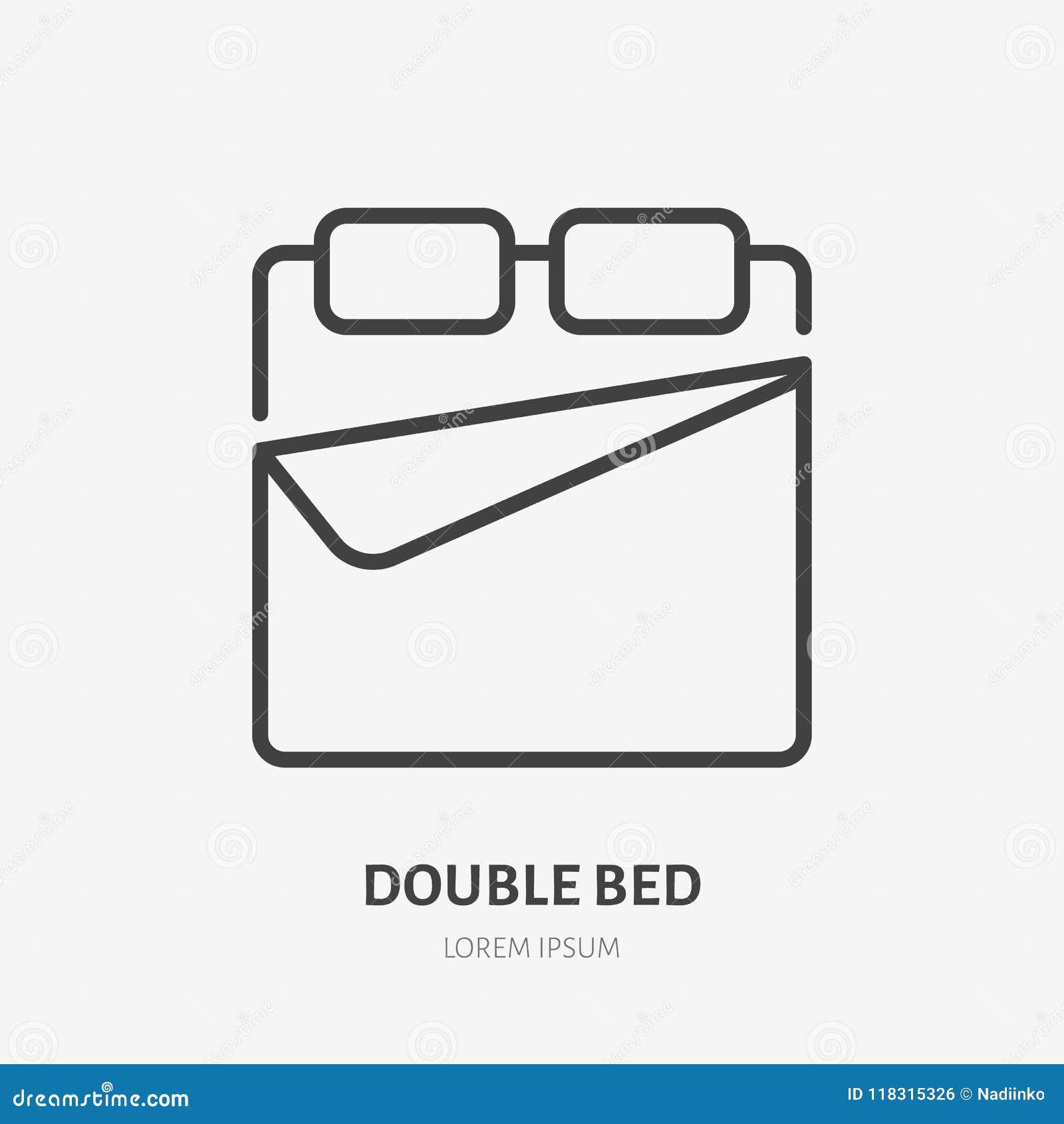 linea piana icona del letto matrimoniale segno della