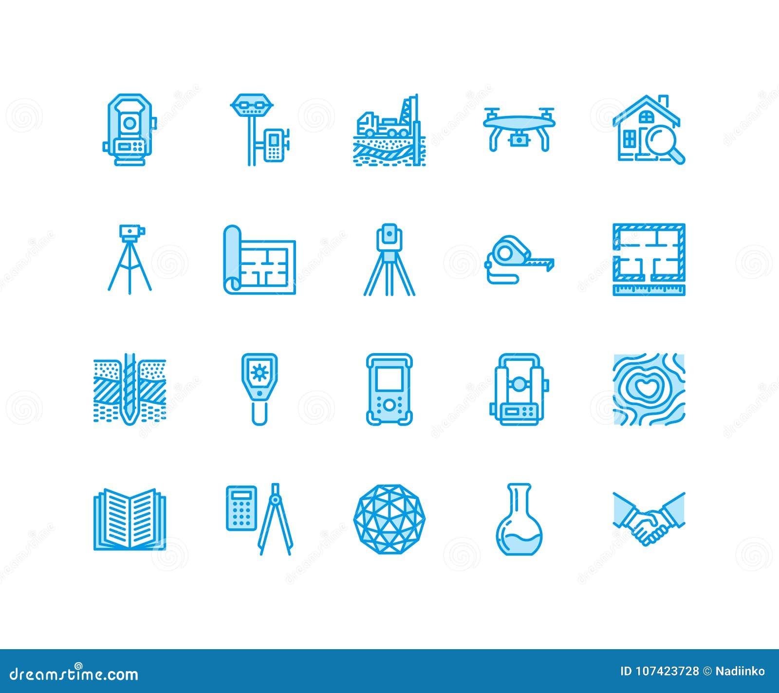 Linea piana icone di vettore di ingegneria di indagine geodetica Attrezzatura di geodesia, tacheometer, teodolite, treppiede geol