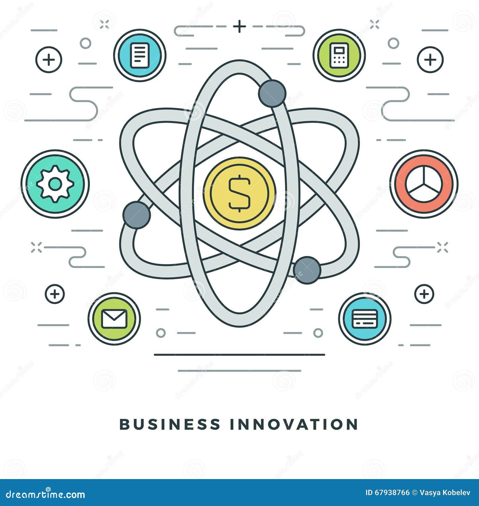 Linea piana innovazioni di affari o concetto di ricerca Illustrazione di vettore