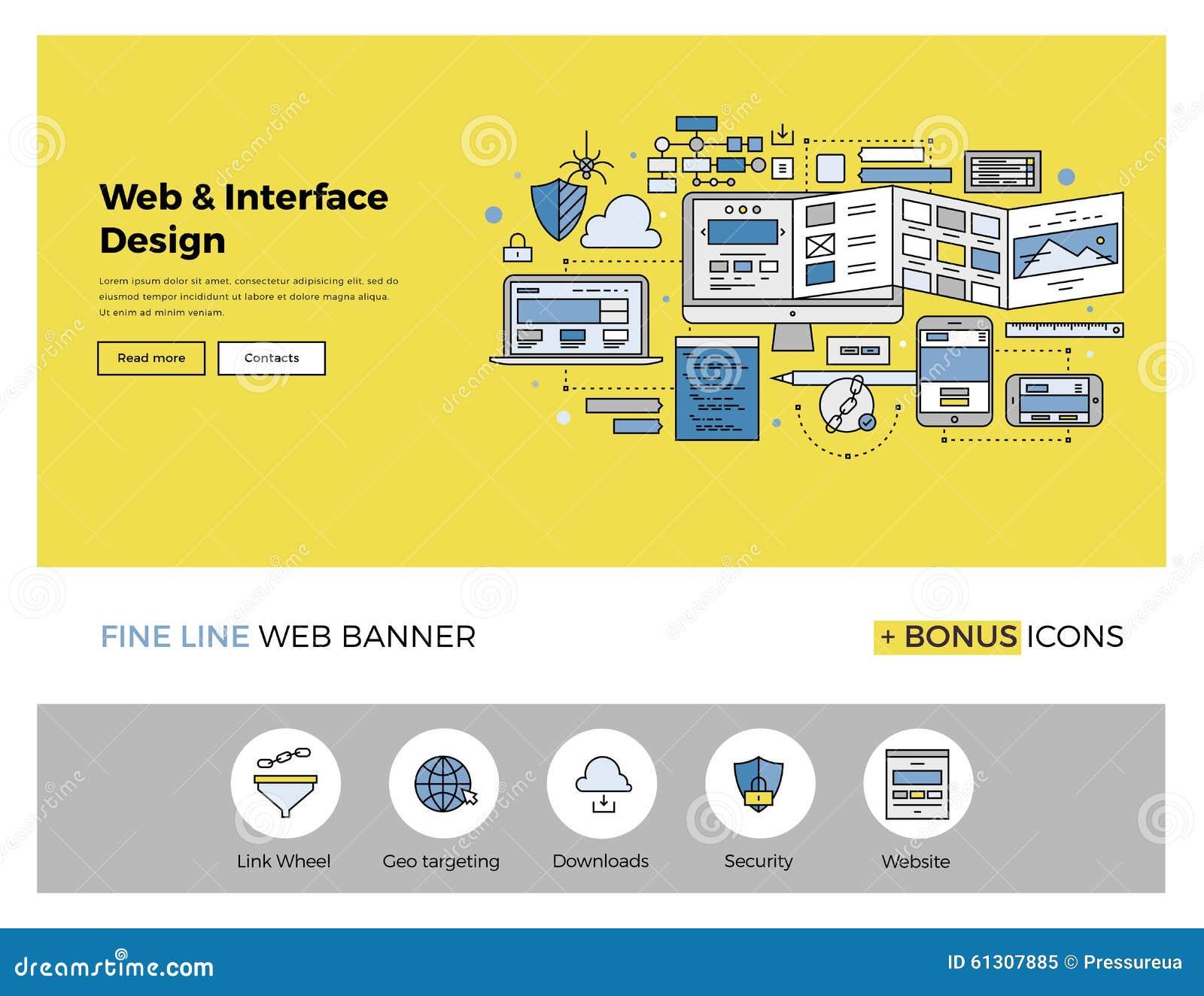 Linea piana insegna di progettazione del sito Web