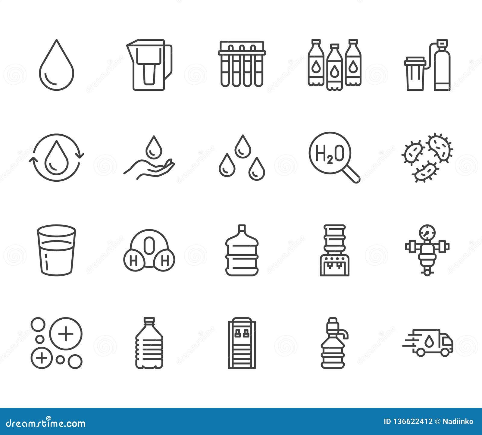 Linea piana insieme della goccia di acqua delle icone L acqua filtra, emolliente, ionizzazione, la disinfezione, illustrazioni di
